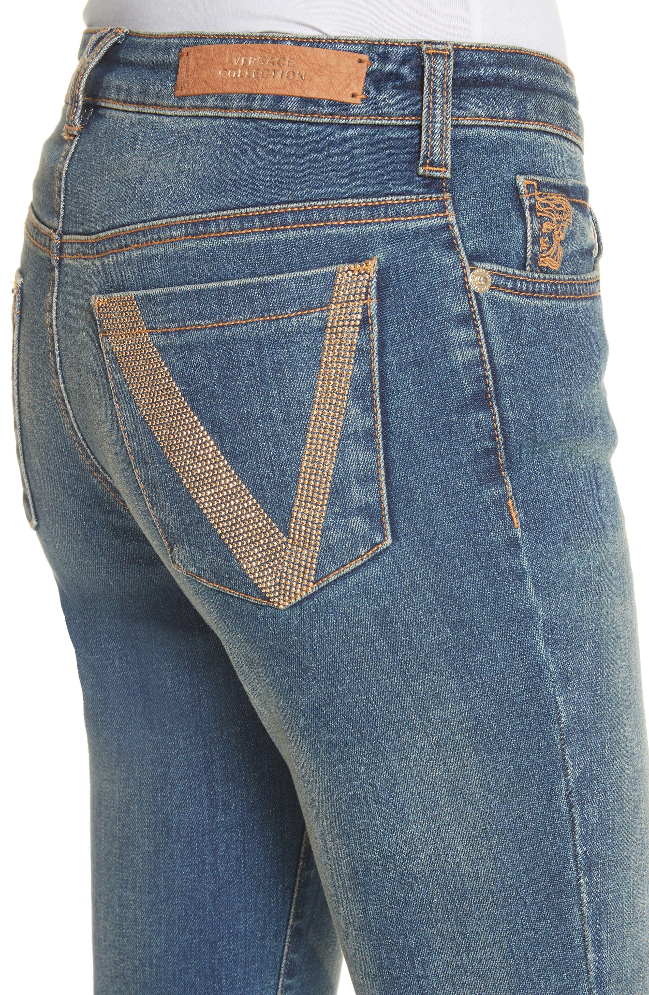 Studded Pocket Skinny Jeans,                             Alternate thumbnail 4, color,                             411