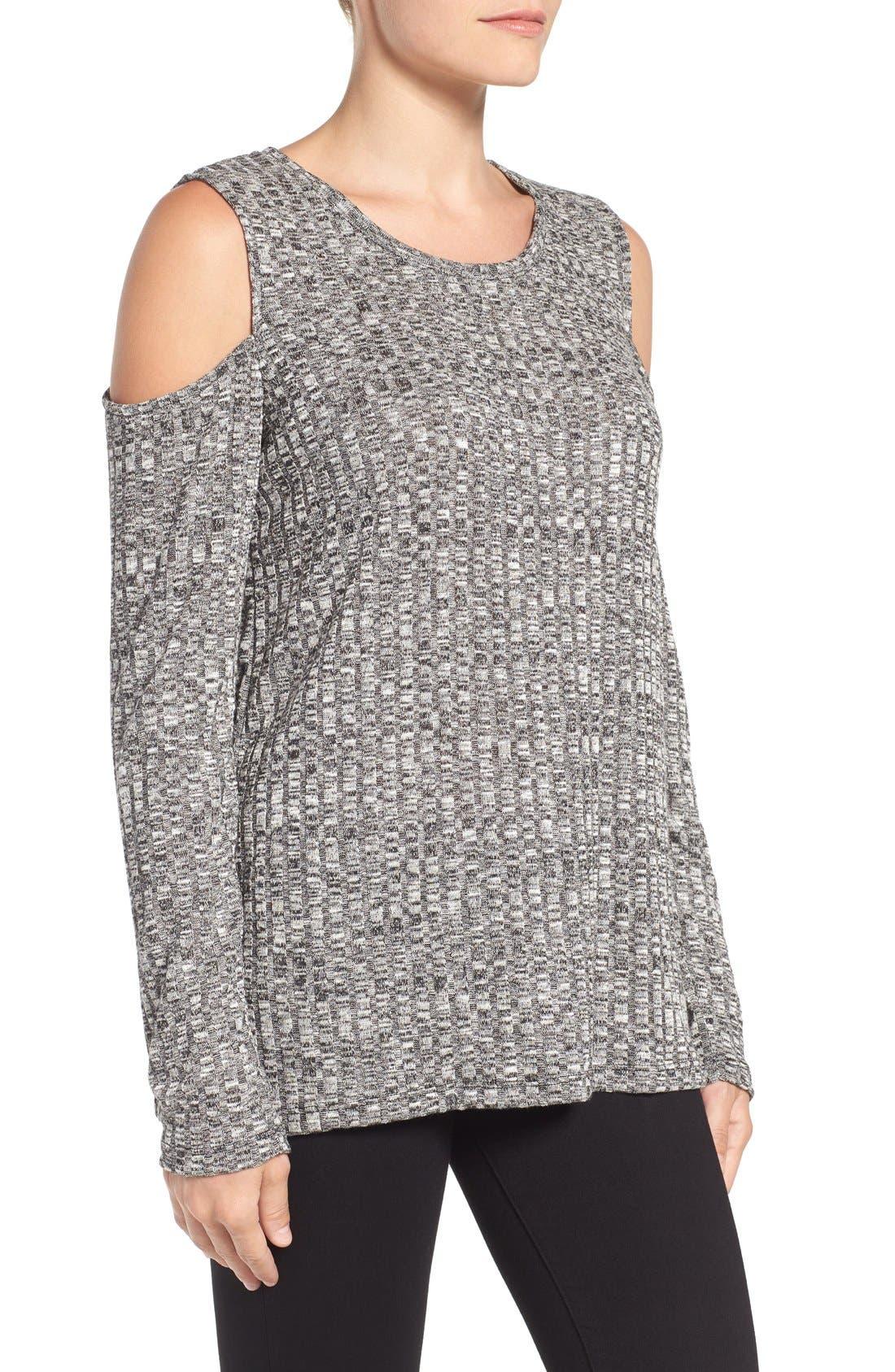 BOBEAU,                             Cold Shoulder Ribbed Sweater,                             Alternate thumbnail 5, color,                             014