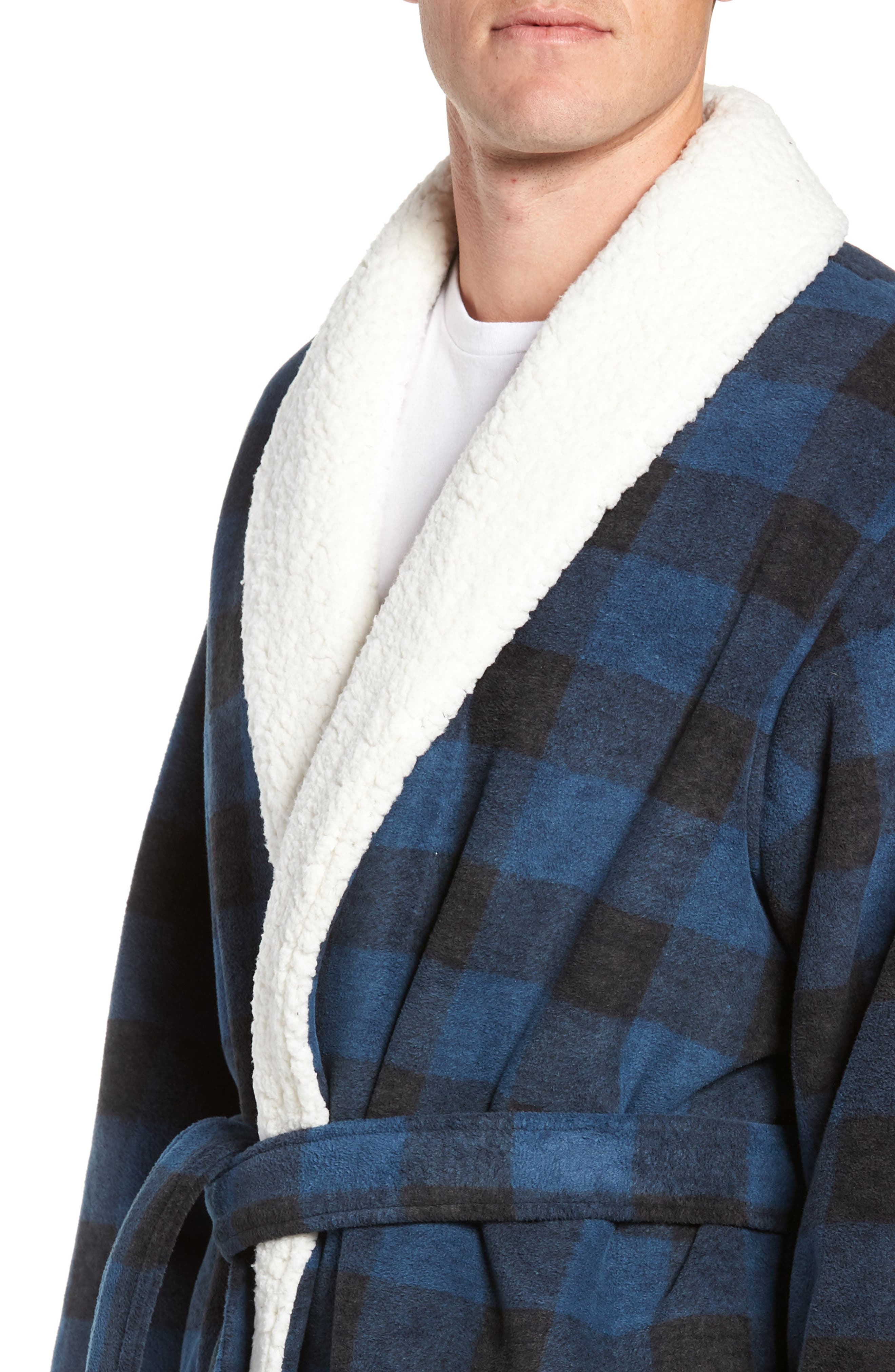Plaid Fleece Robe with Faux Shearling Lining,                             Alternate thumbnail 4, color,                             410