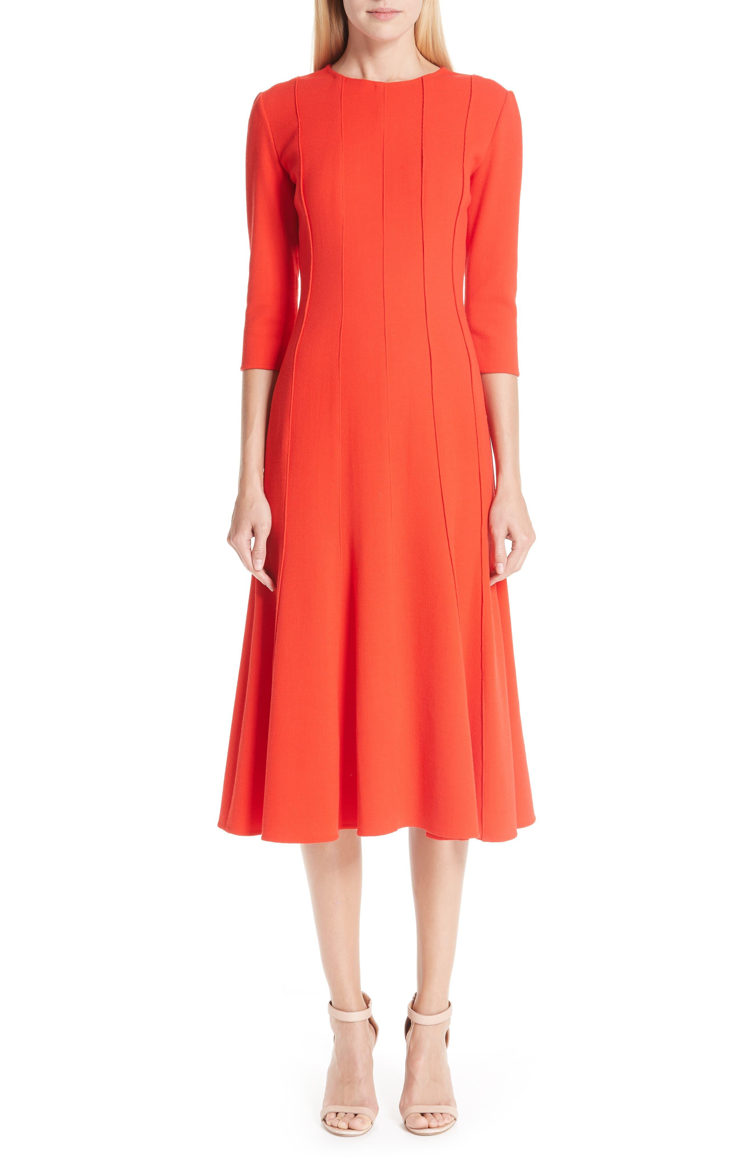 Oscar De La Renta Seam Detail Stretch Wool A-Line Midi Dress, Pink