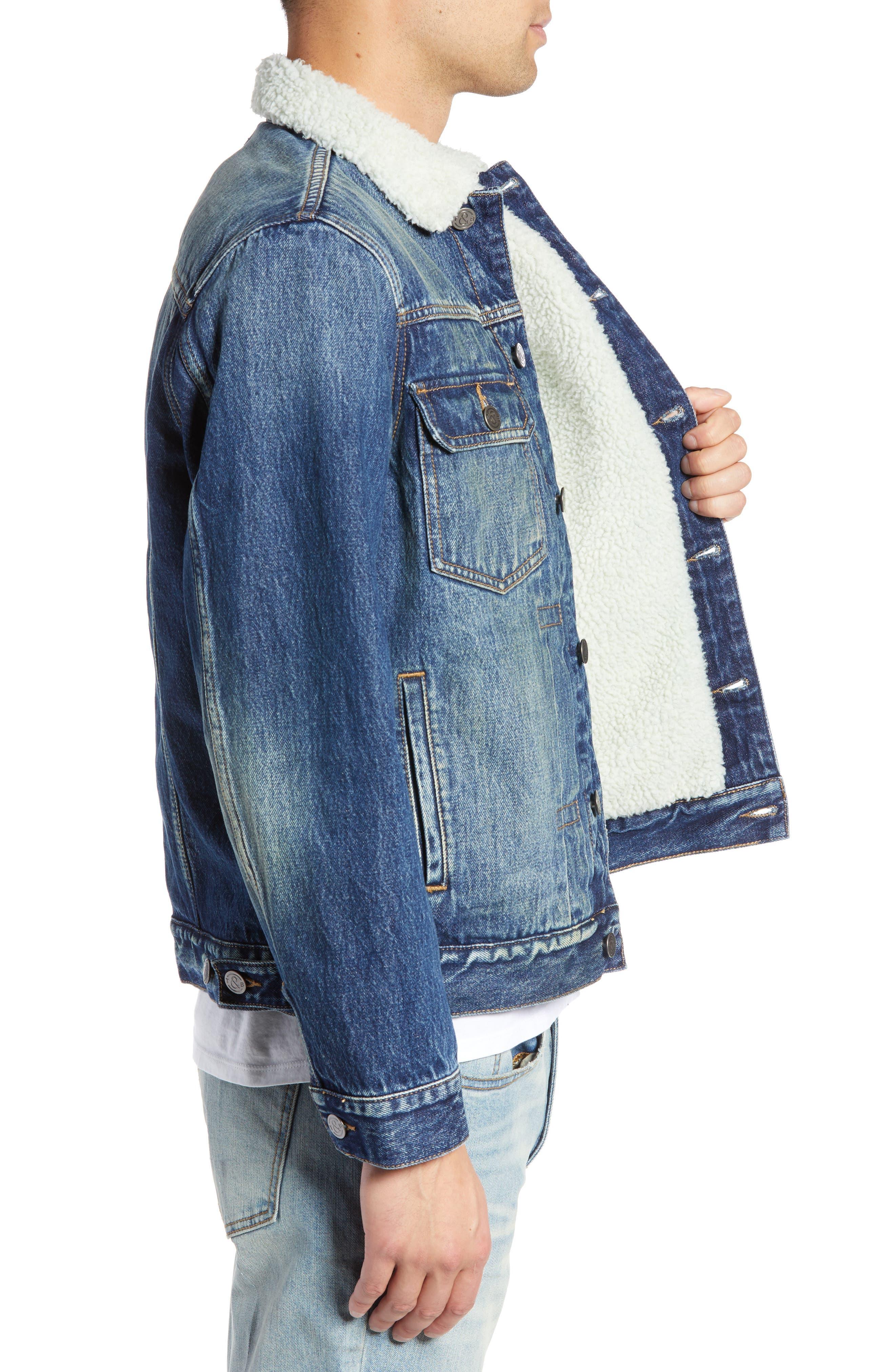 Denim Jacket with Faux Shearling Collar,                             Alternate thumbnail 3, color,                             BLUE MEDIUM DENIM