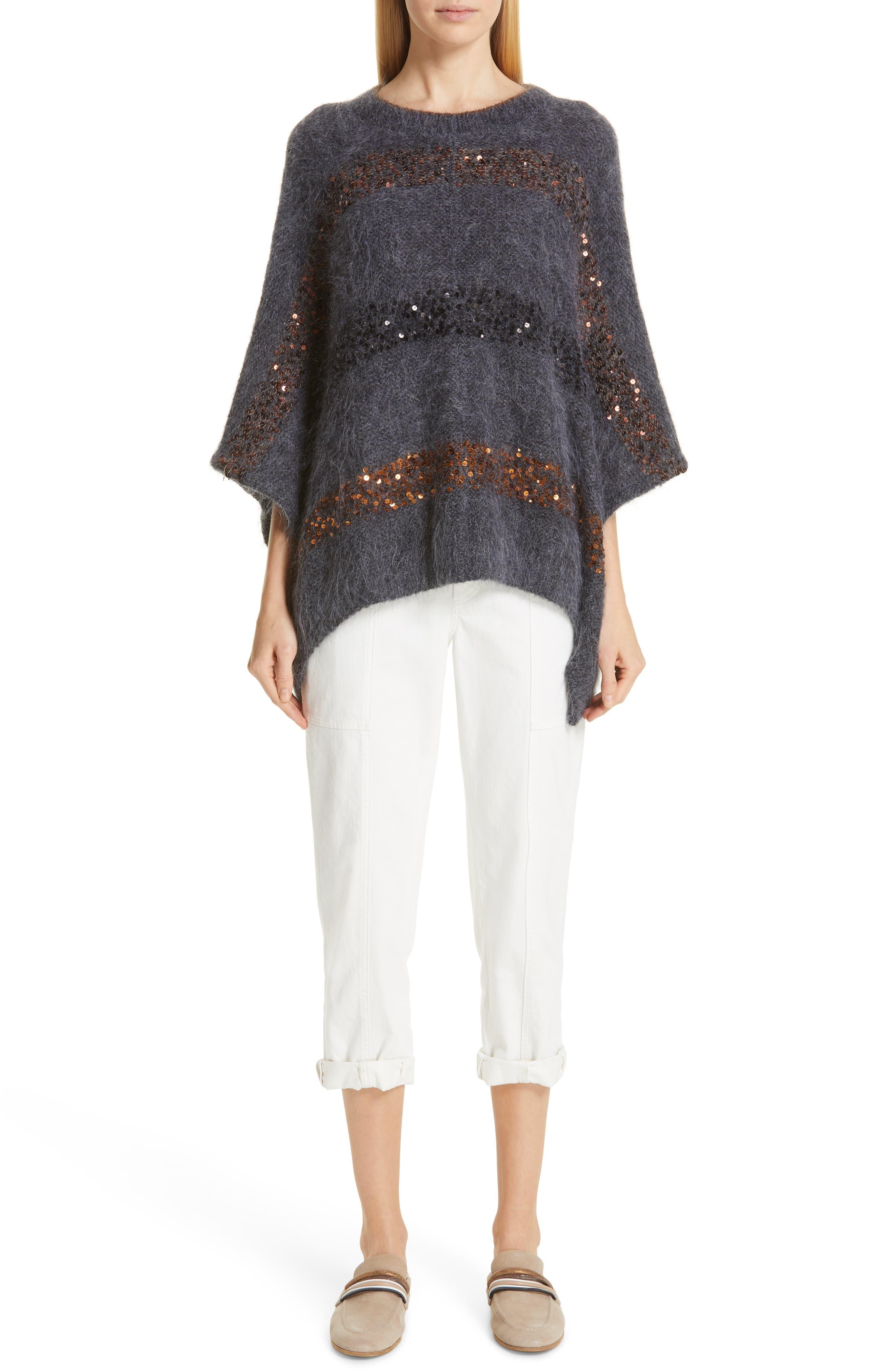 BRUNELLO CUCINELLI,                             Sequin Stripe Poncho Sweater,                             Alternate thumbnail 8, color,                             ANTHRACITE