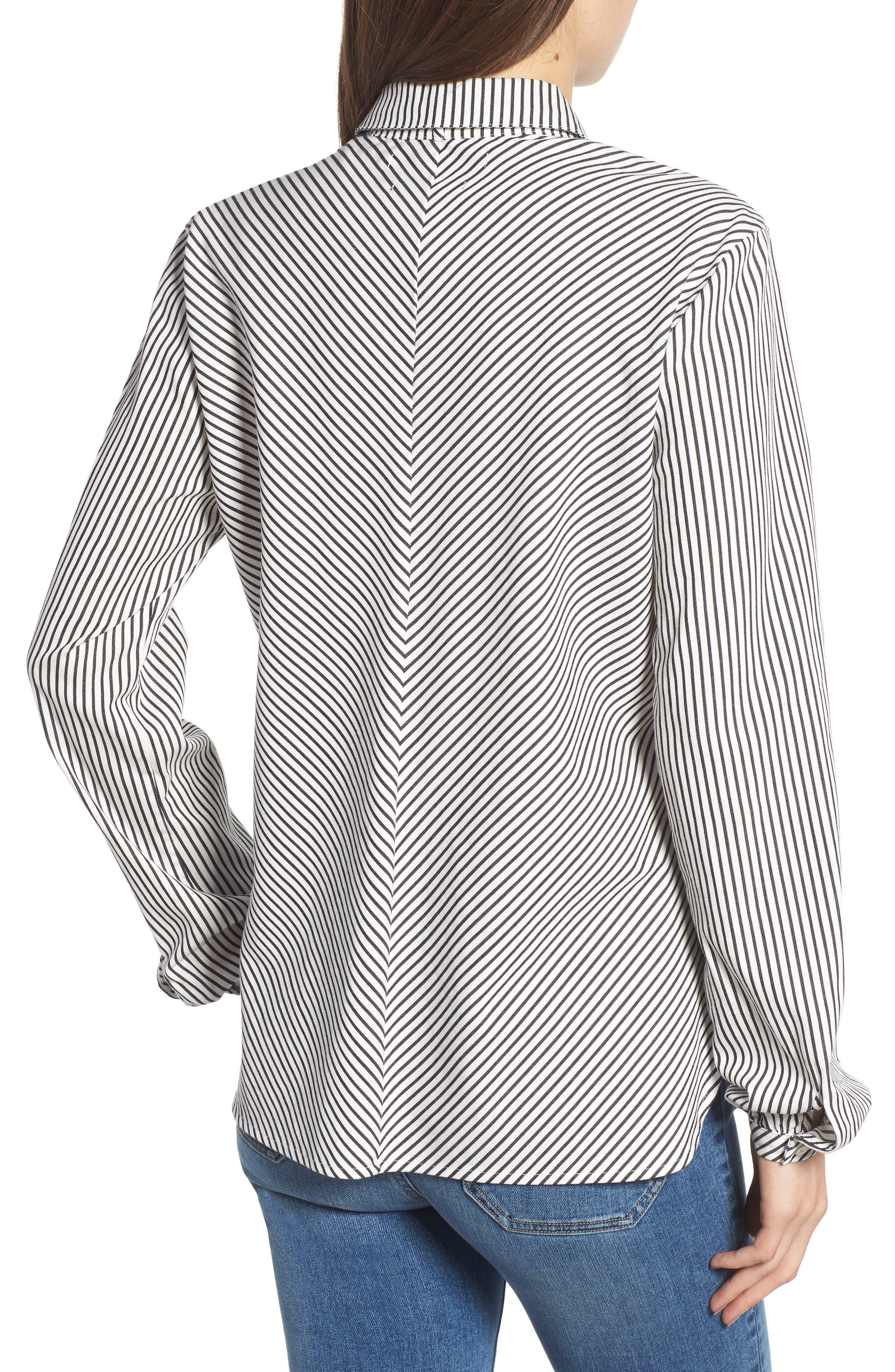 Stripe Pleat Shirt,                             Alternate thumbnail 2, color,                             BLACK/ WHITE PIN STRIPE