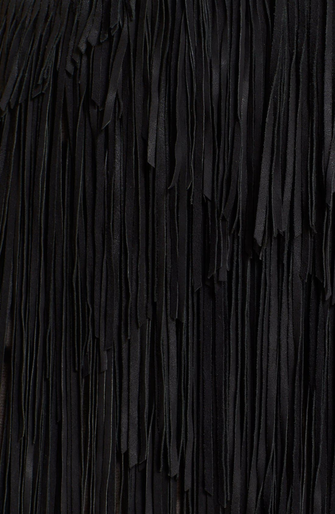 HAUTE HIPPIE,                             Asymmetrical Suede Fringe Skirt,                             Alternate thumbnail 2, color,                             001