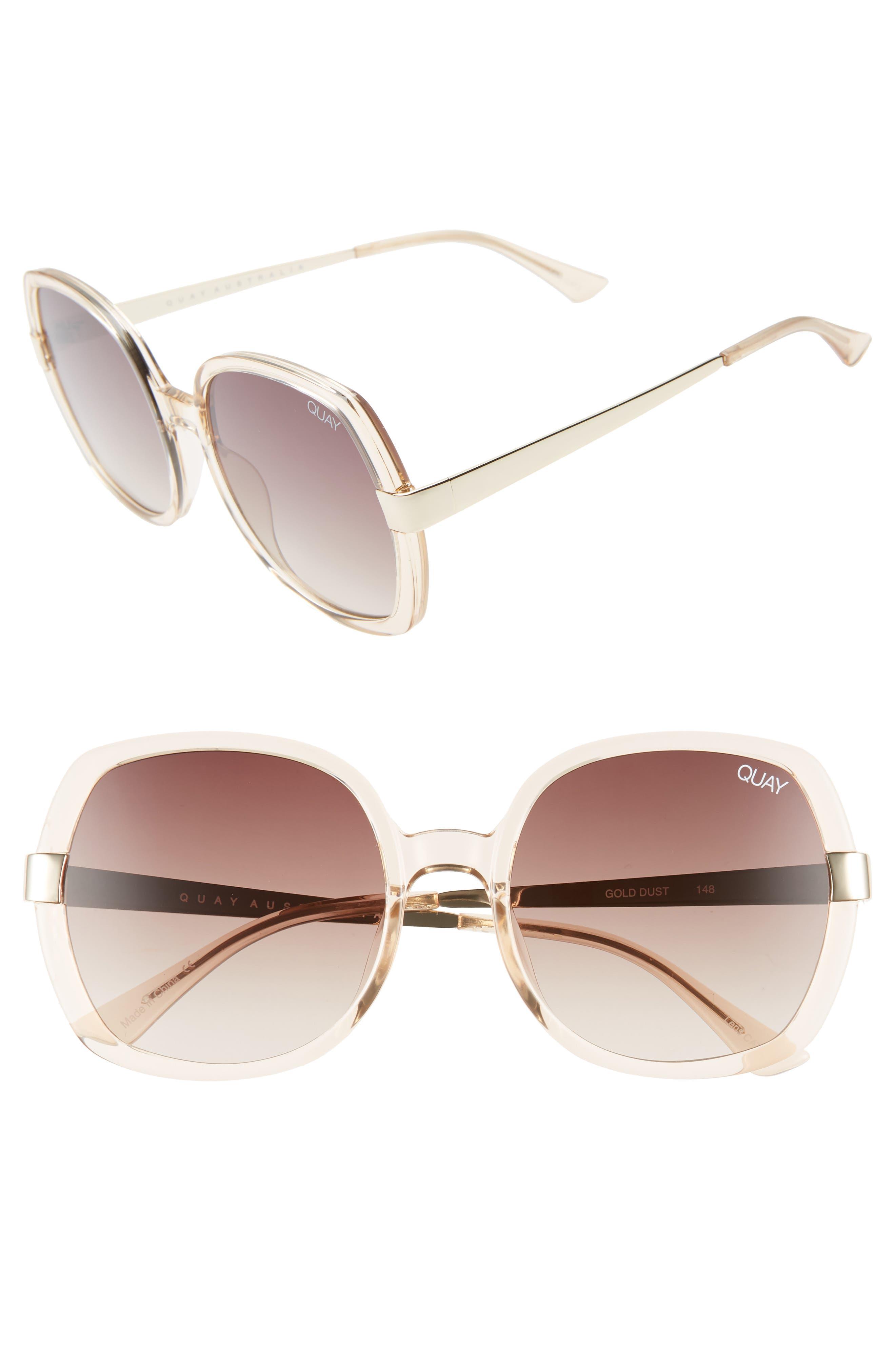 Quay Australia Gold Dust 55Mm Square Sunglasses - Champagne / Brown Fade