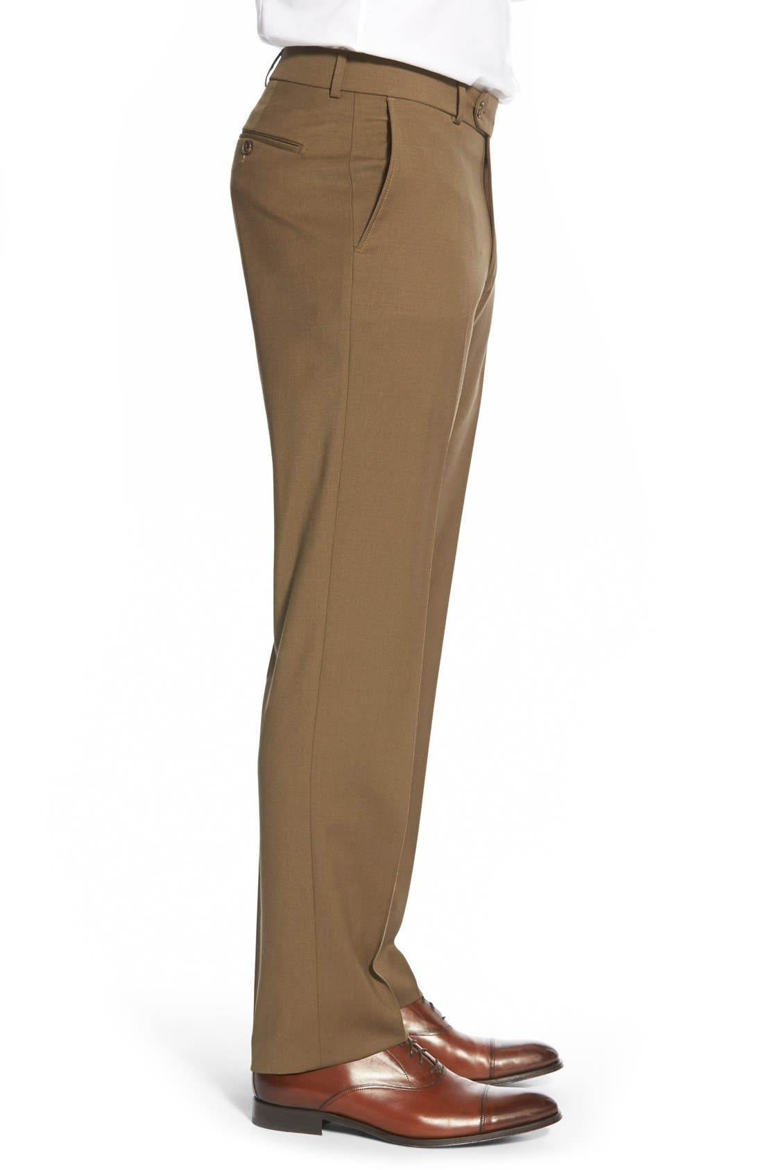 Flat Front Solid Wool Trousers,                             Alternate thumbnail 51, color,