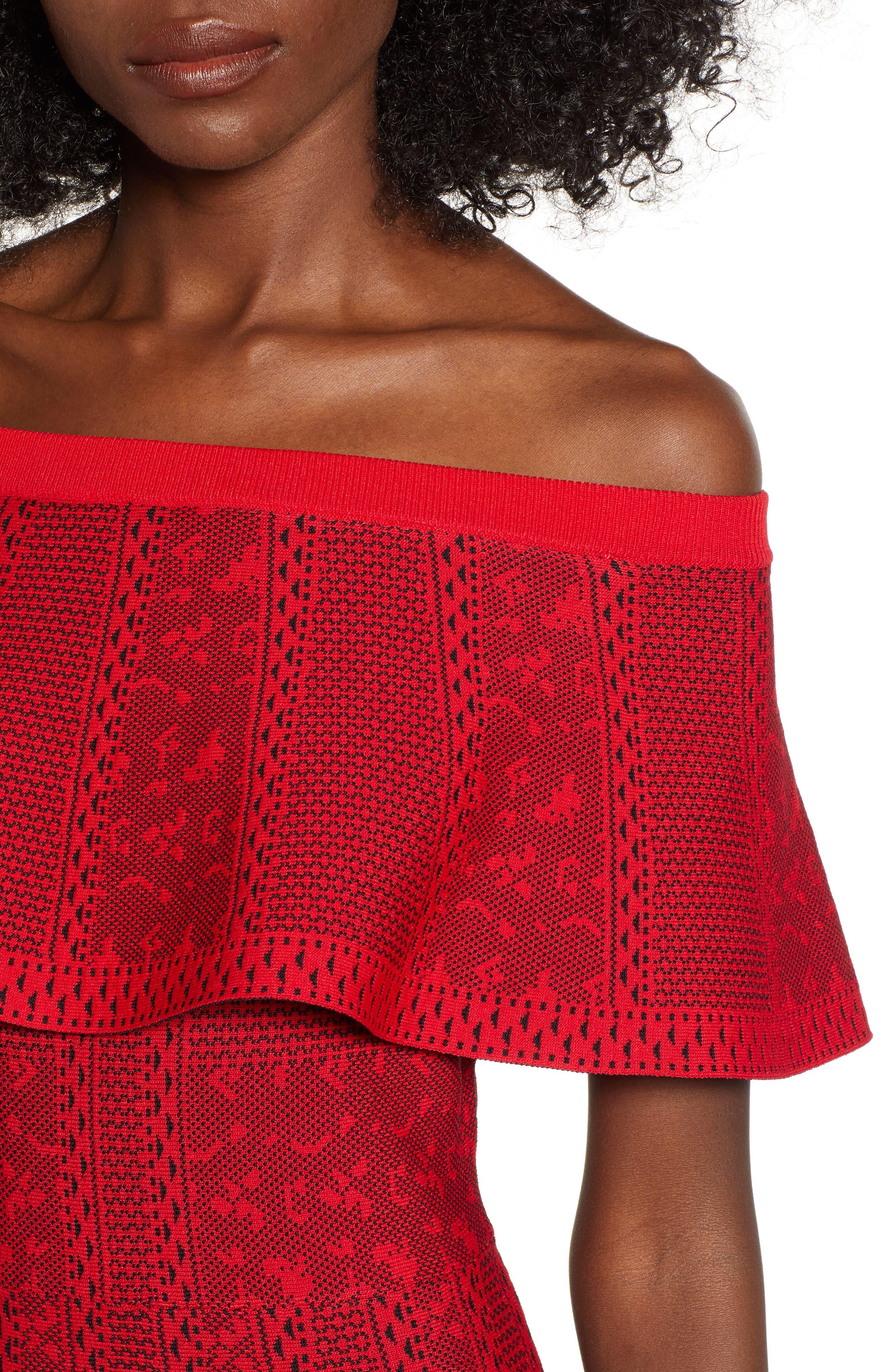 Off the Shoulder Fit & Flare Dress,                             Alternate thumbnail 4, color,                             RED