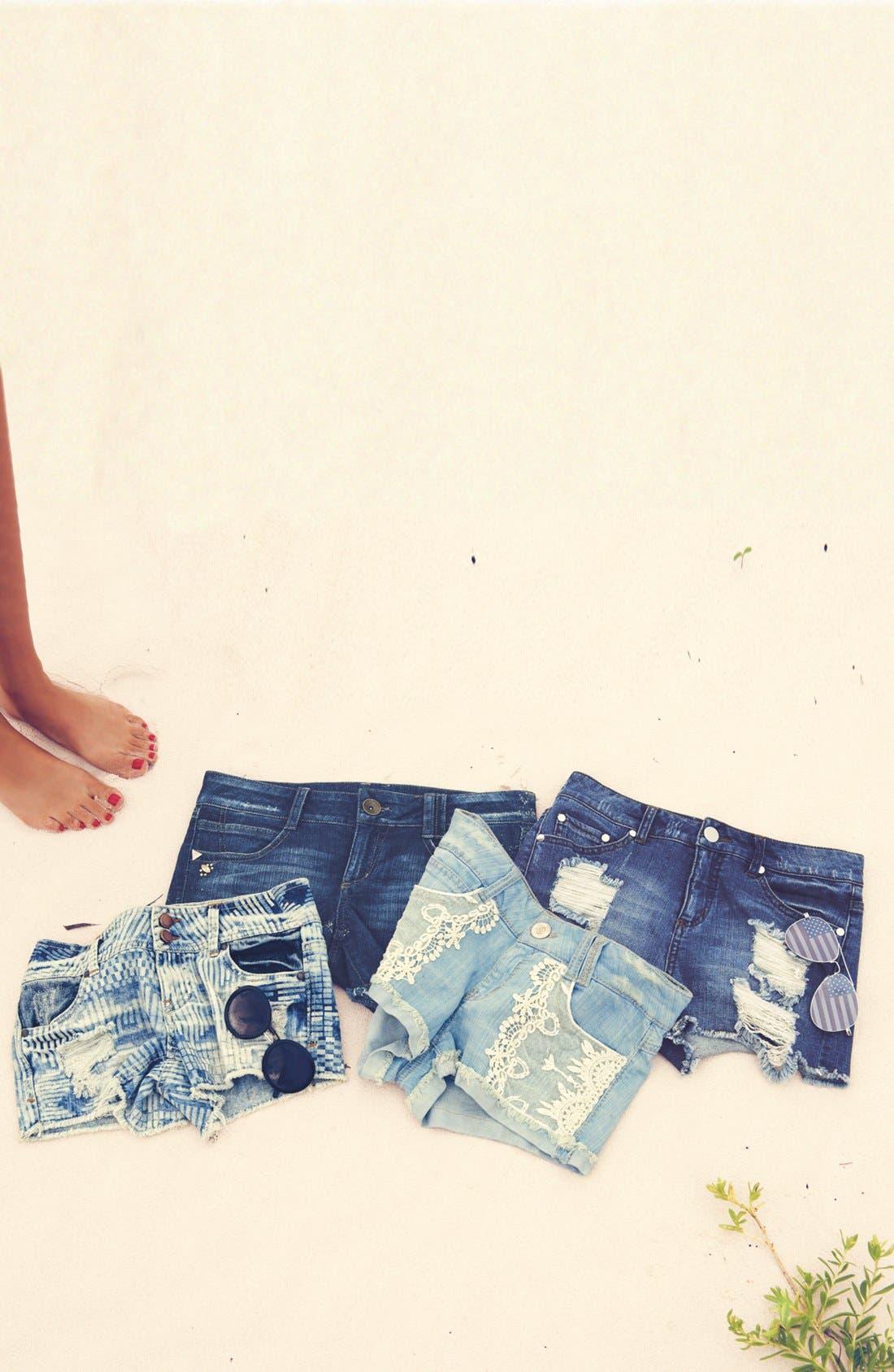 Lace Appliqué Denim Shorts,                         Main,                         color, 401
