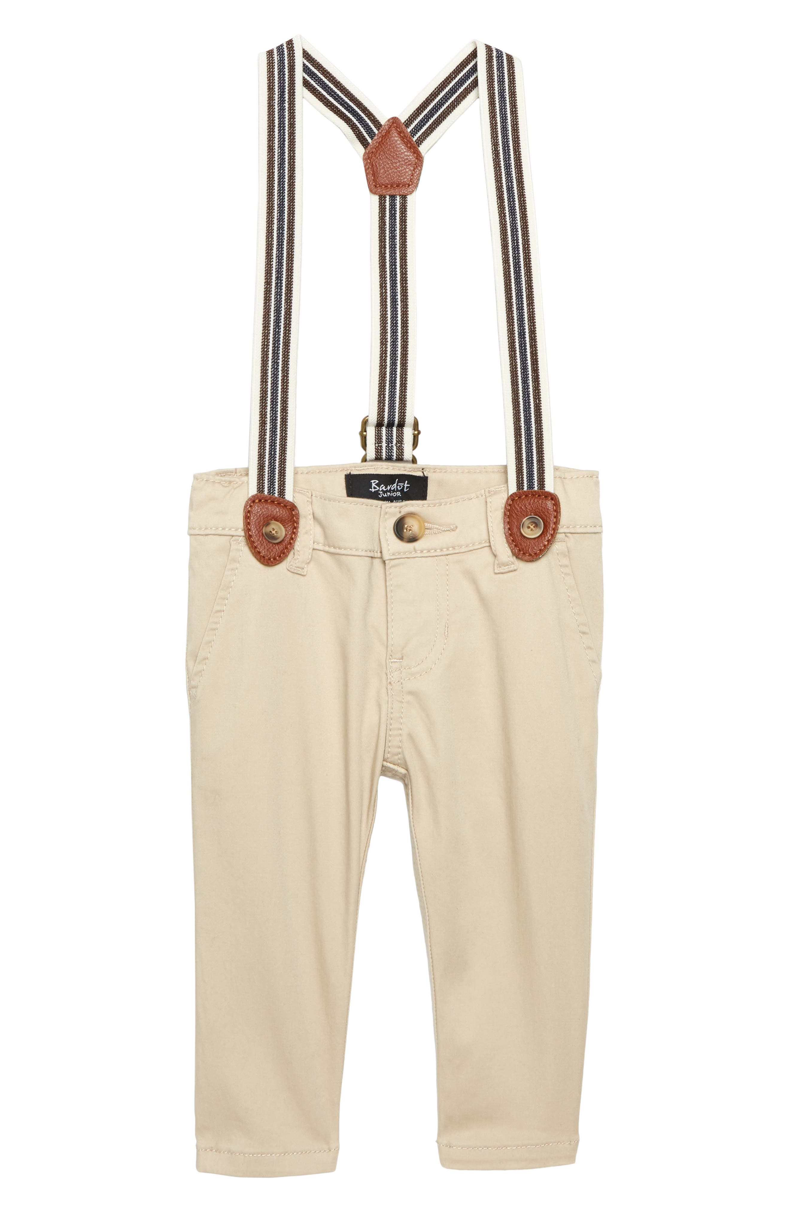Chinos & Suspenders Set, Main, color, STONE