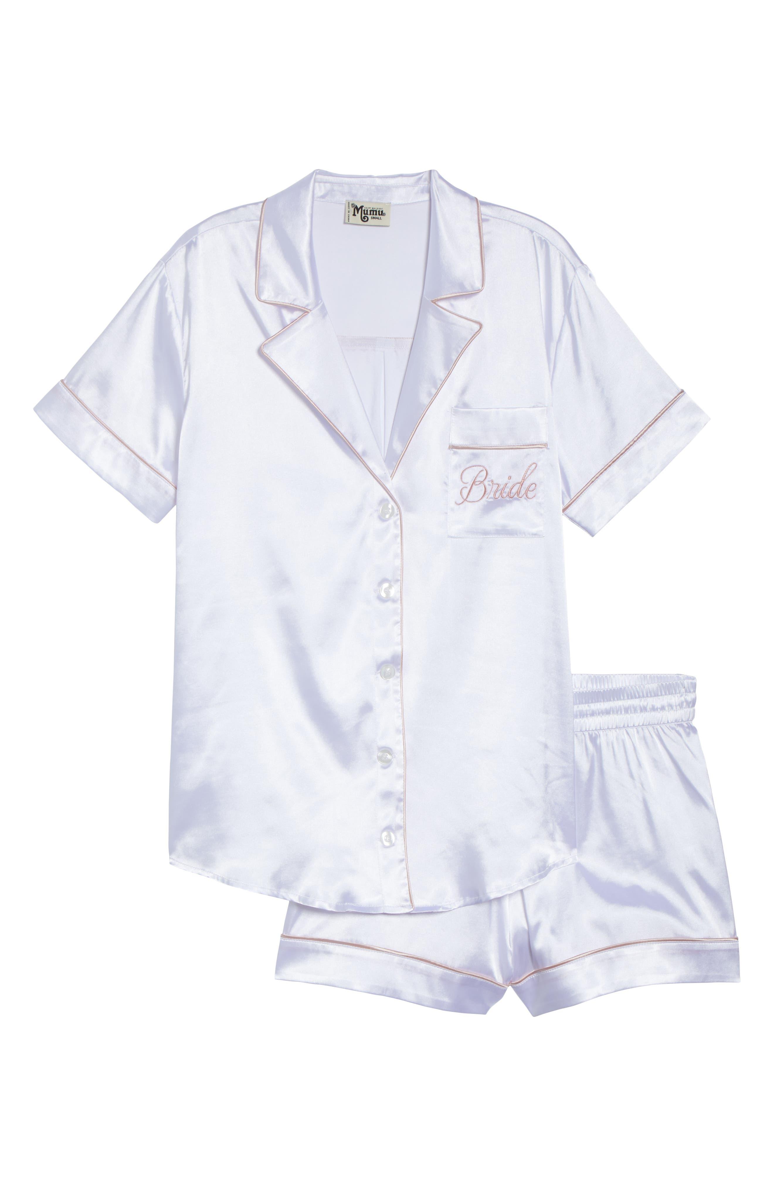 Bride Short Satin Pajamas,                             Alternate thumbnail 6, color,                             100