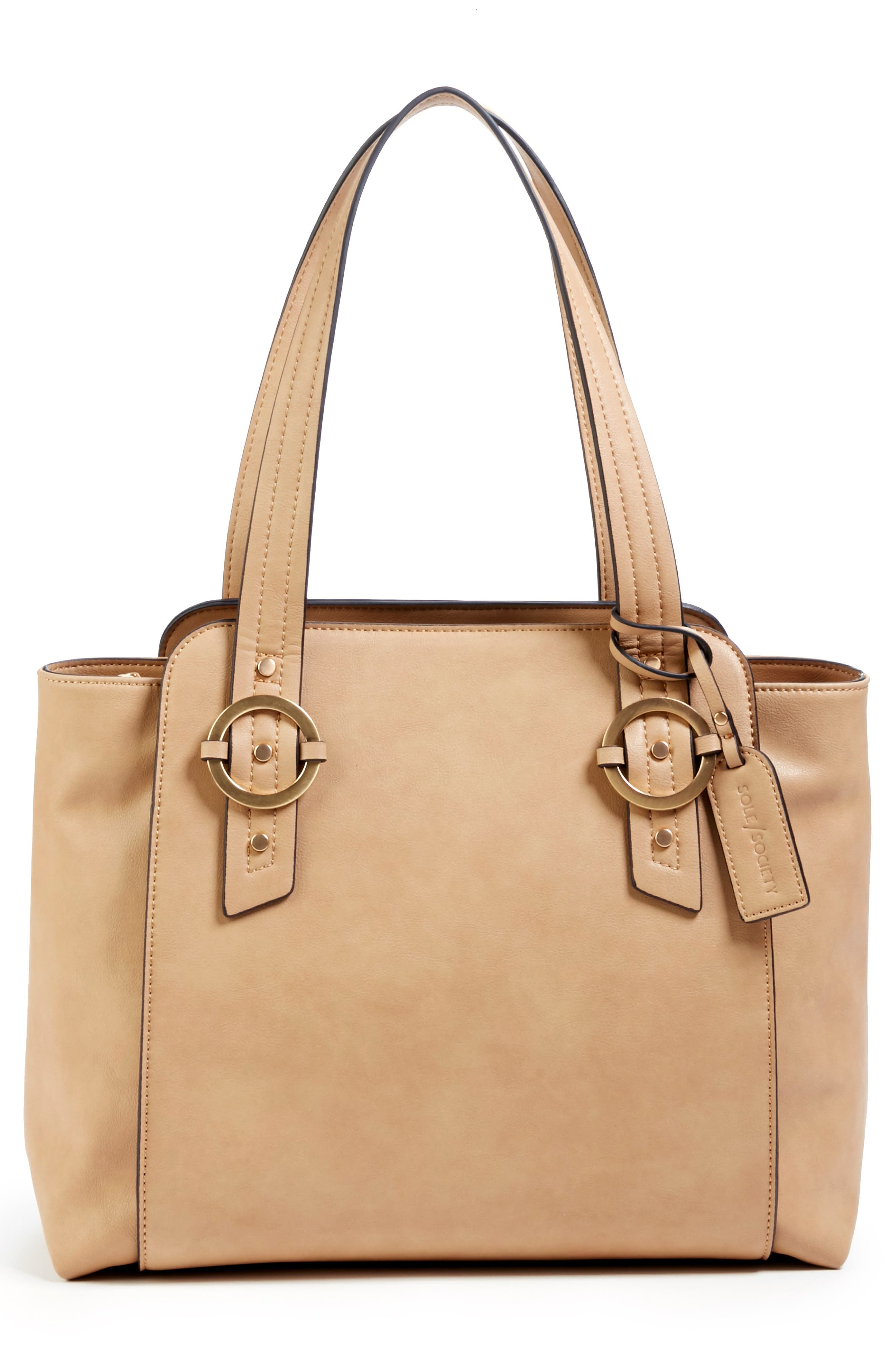 Faux Leather Tote,                             Alternate thumbnail 4, color,