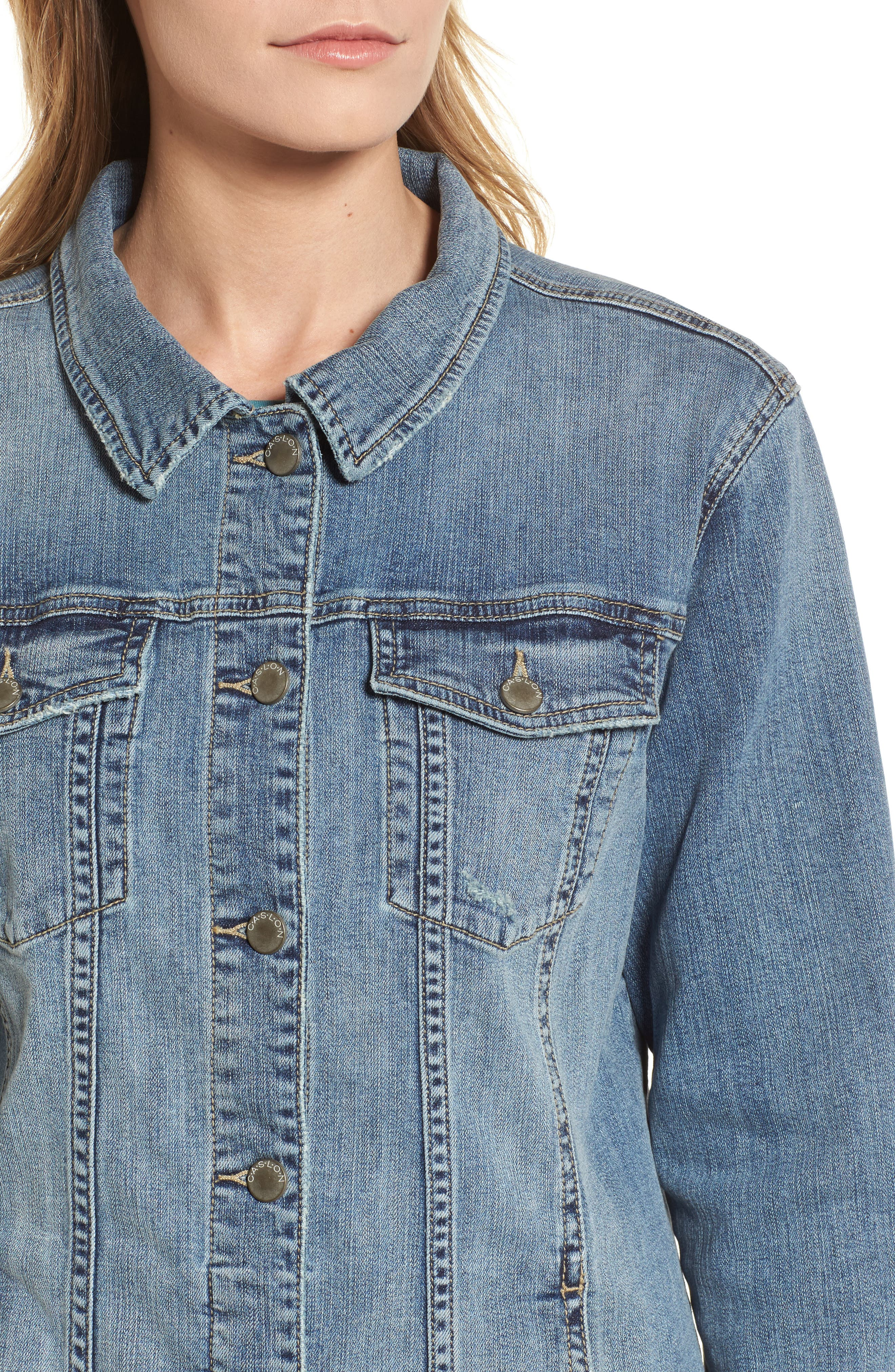 Relaxed Fit Denim Jacket,                             Alternate thumbnail 4, color,                             420
