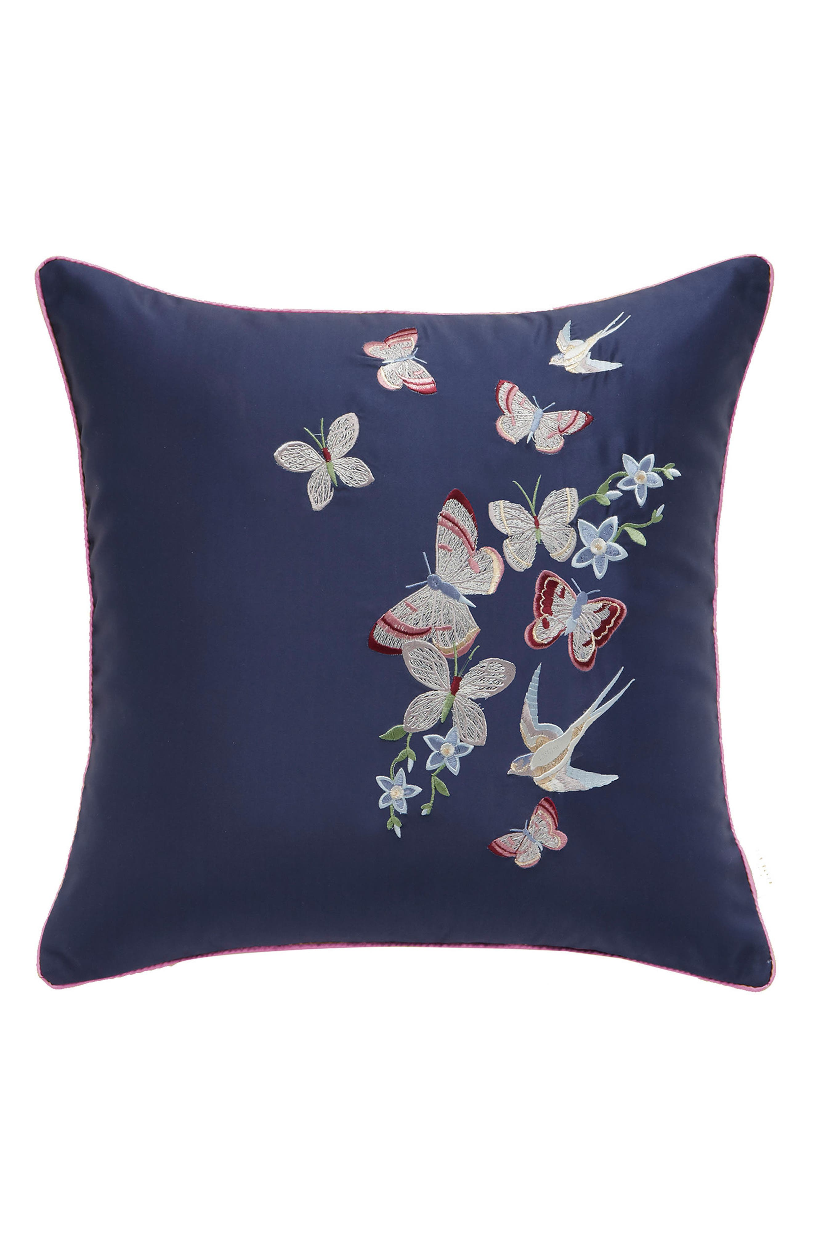 Butterfly Embroidered Accent Pillow,                             Main thumbnail 1, color,                             NAVY
