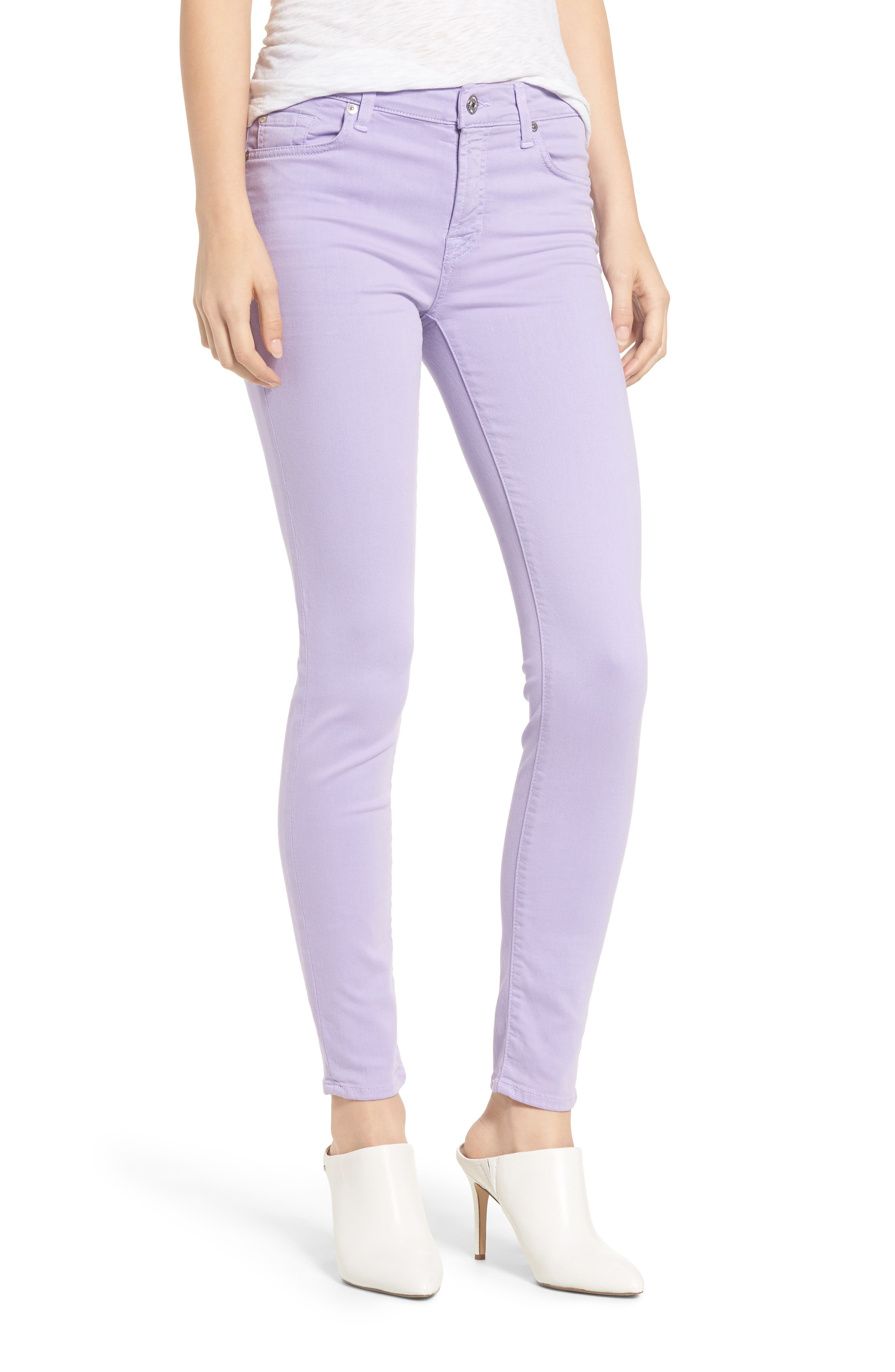 The Ankle Skinny Jeans, Main, color, SOFT LILAC