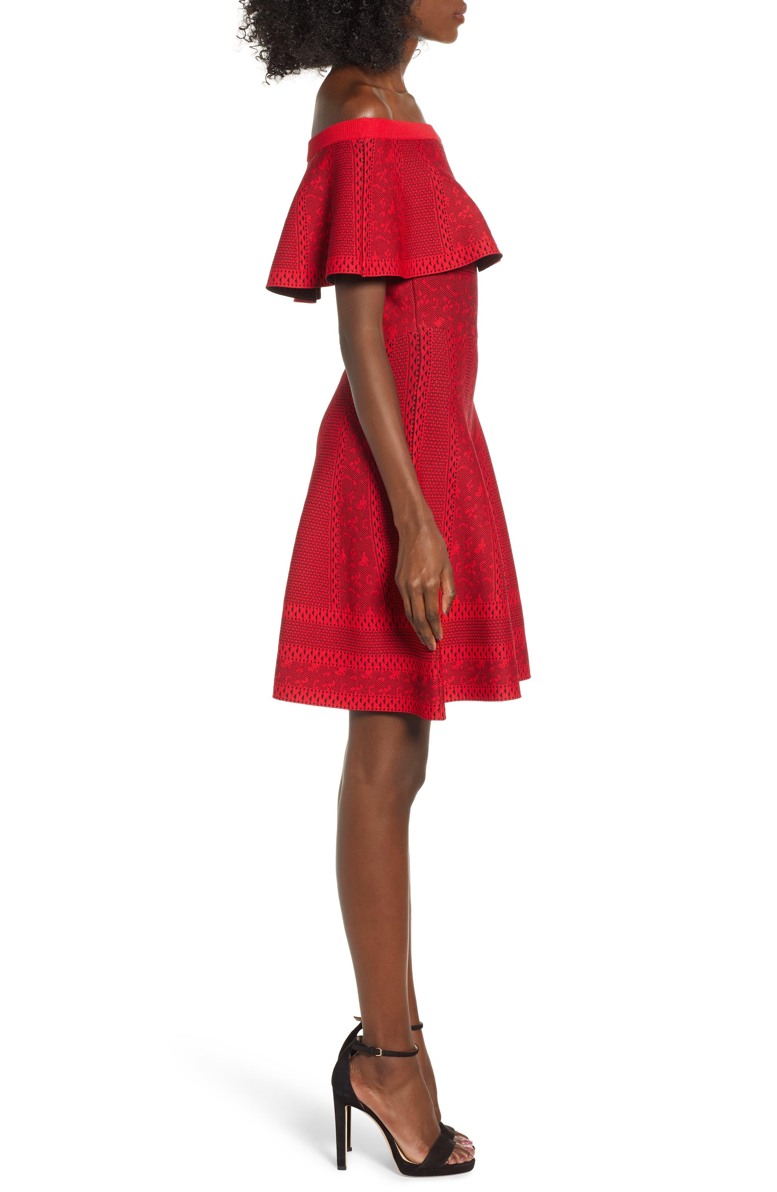 Off the Shoulder Fit & Flare Dress,                             Alternate thumbnail 3, color,                             RED