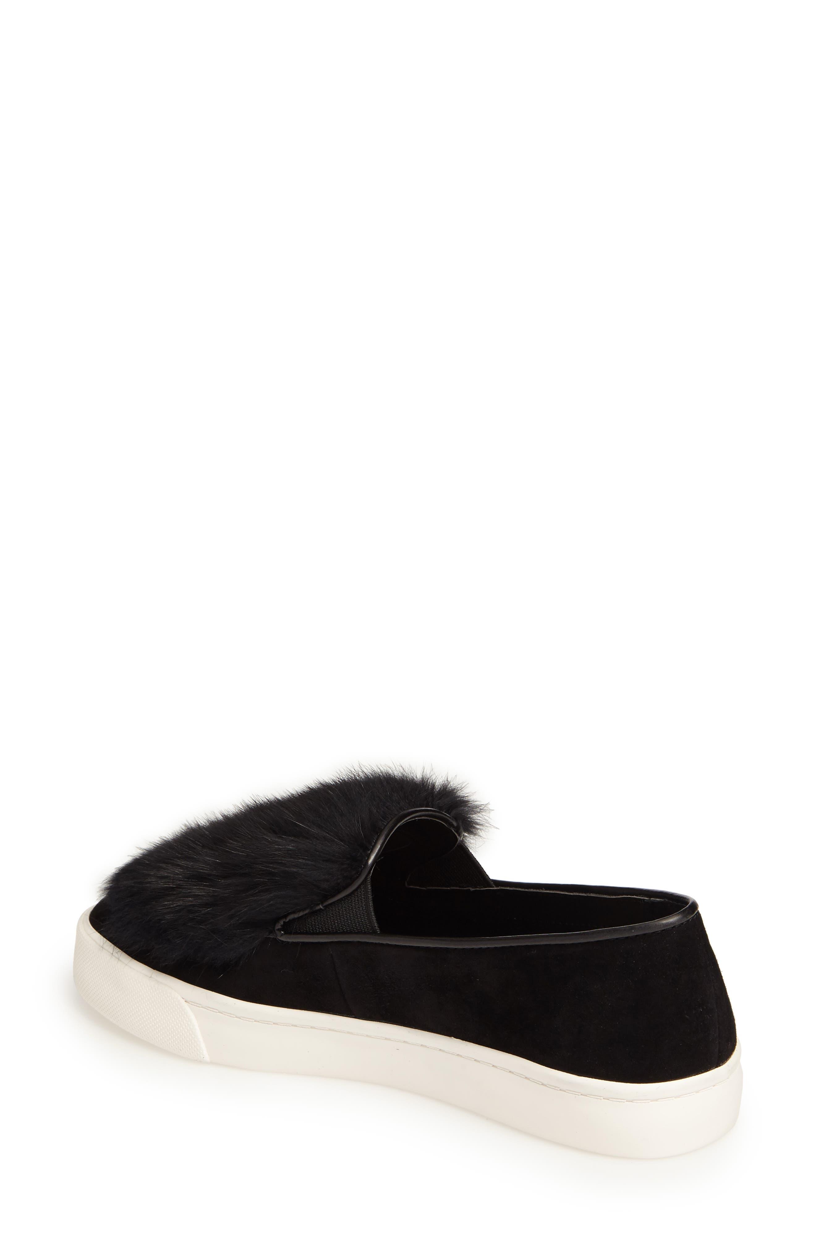 Bershner Genuine Rabbit Fur Slip-On Sneaker,                             Alternate thumbnail 2, color,                             001
