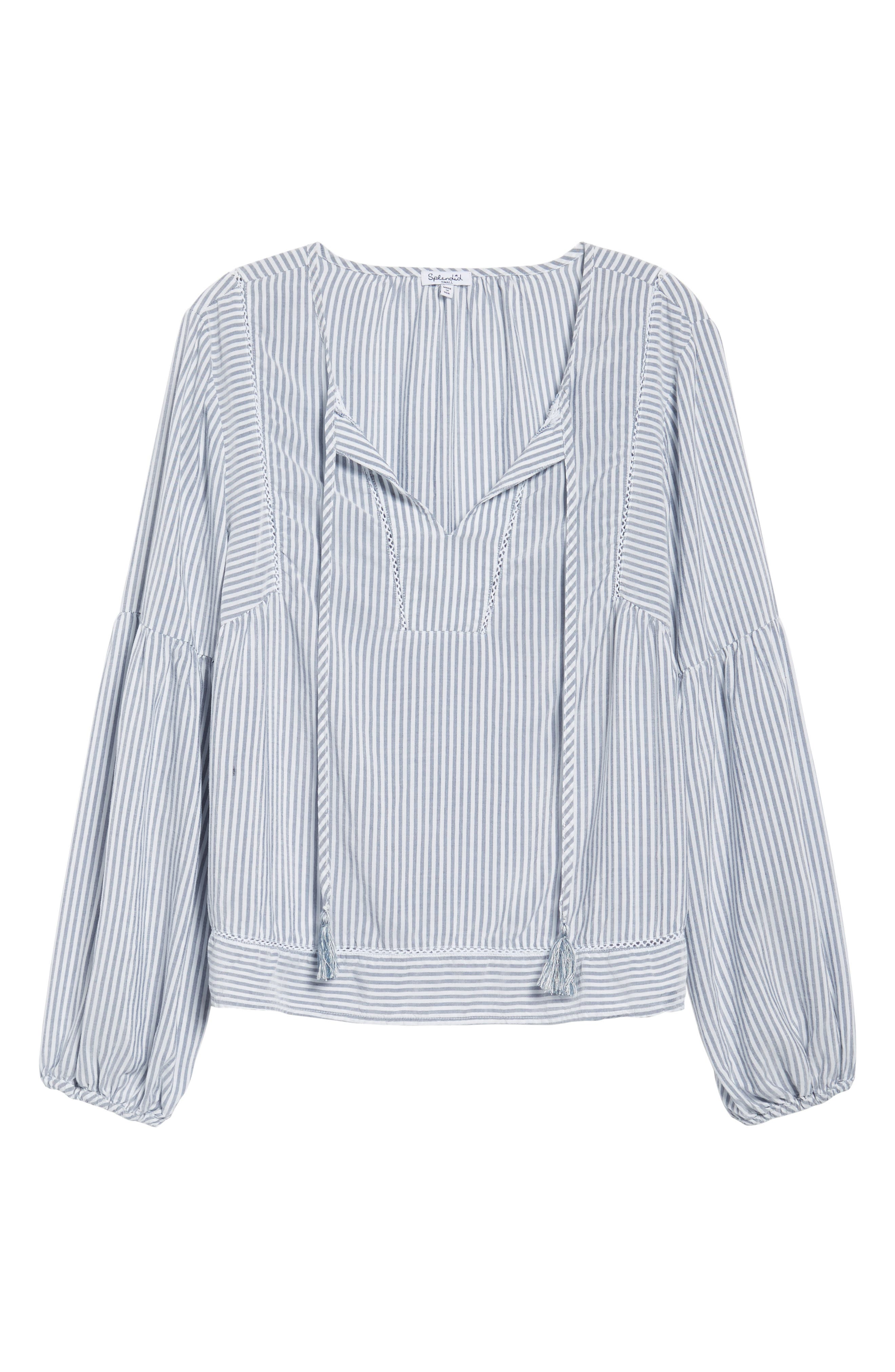 Tassel Shirt,                             Alternate thumbnail 6, color,                             MED WASH