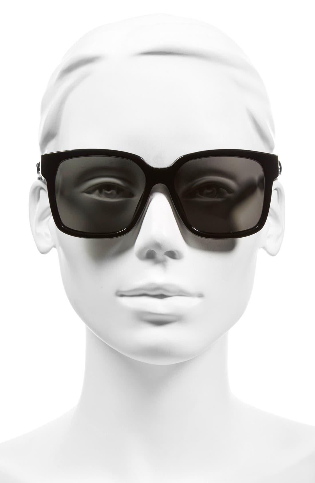 Paris 'BA0053' 55mm Cat Eye Sunglasses,                             Alternate thumbnail 2, color,                             001