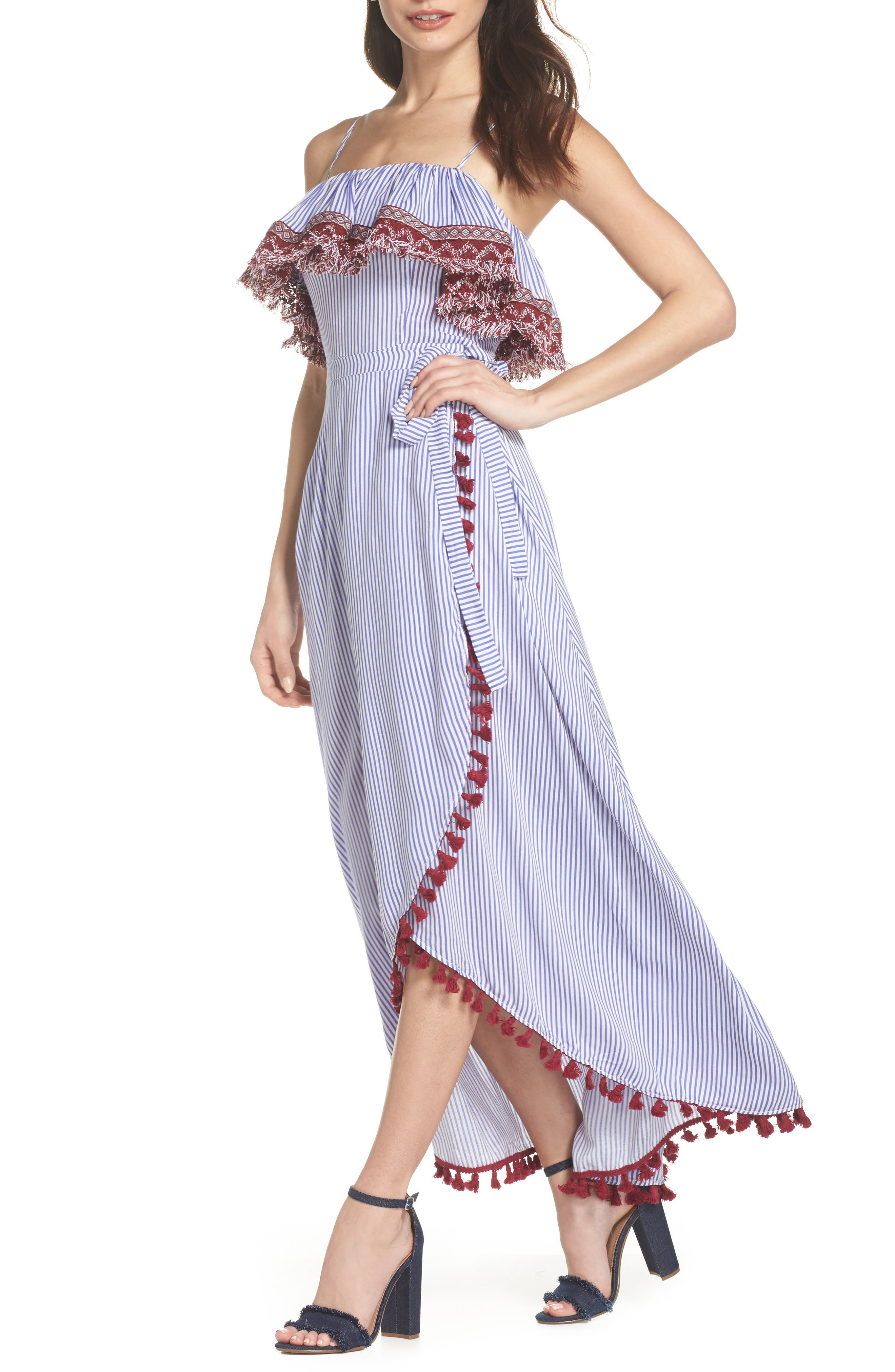 Stripe Ruffle Maxi Dress,                             Main thumbnail 1, color,