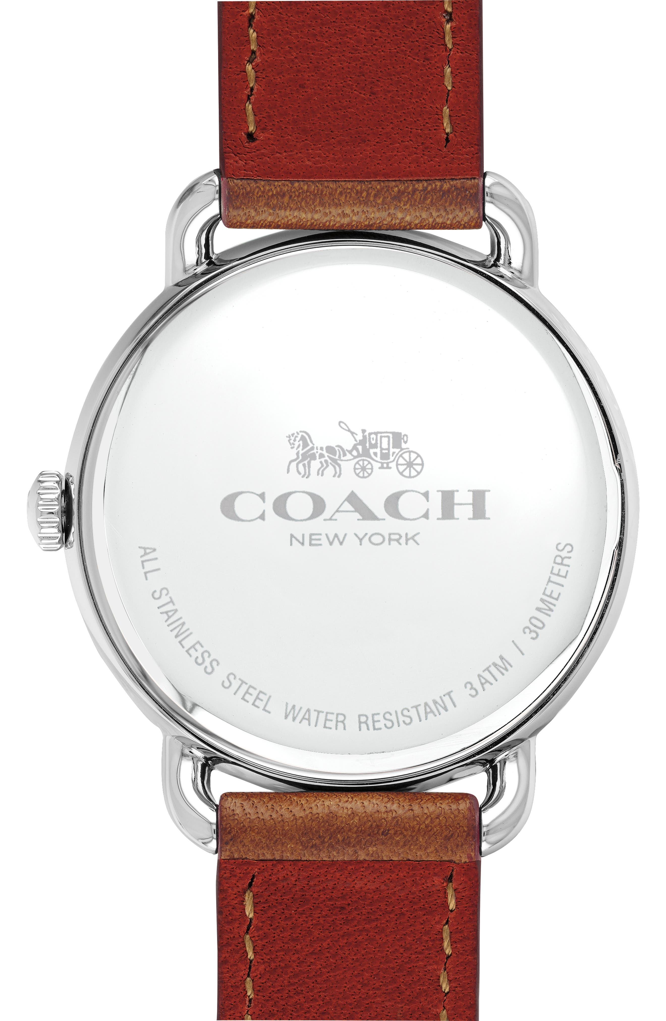 Delancey Charm Detail Leather Strap Watch, 36mm,                             Alternate thumbnail 2, color,                             BROWN/ SILVER