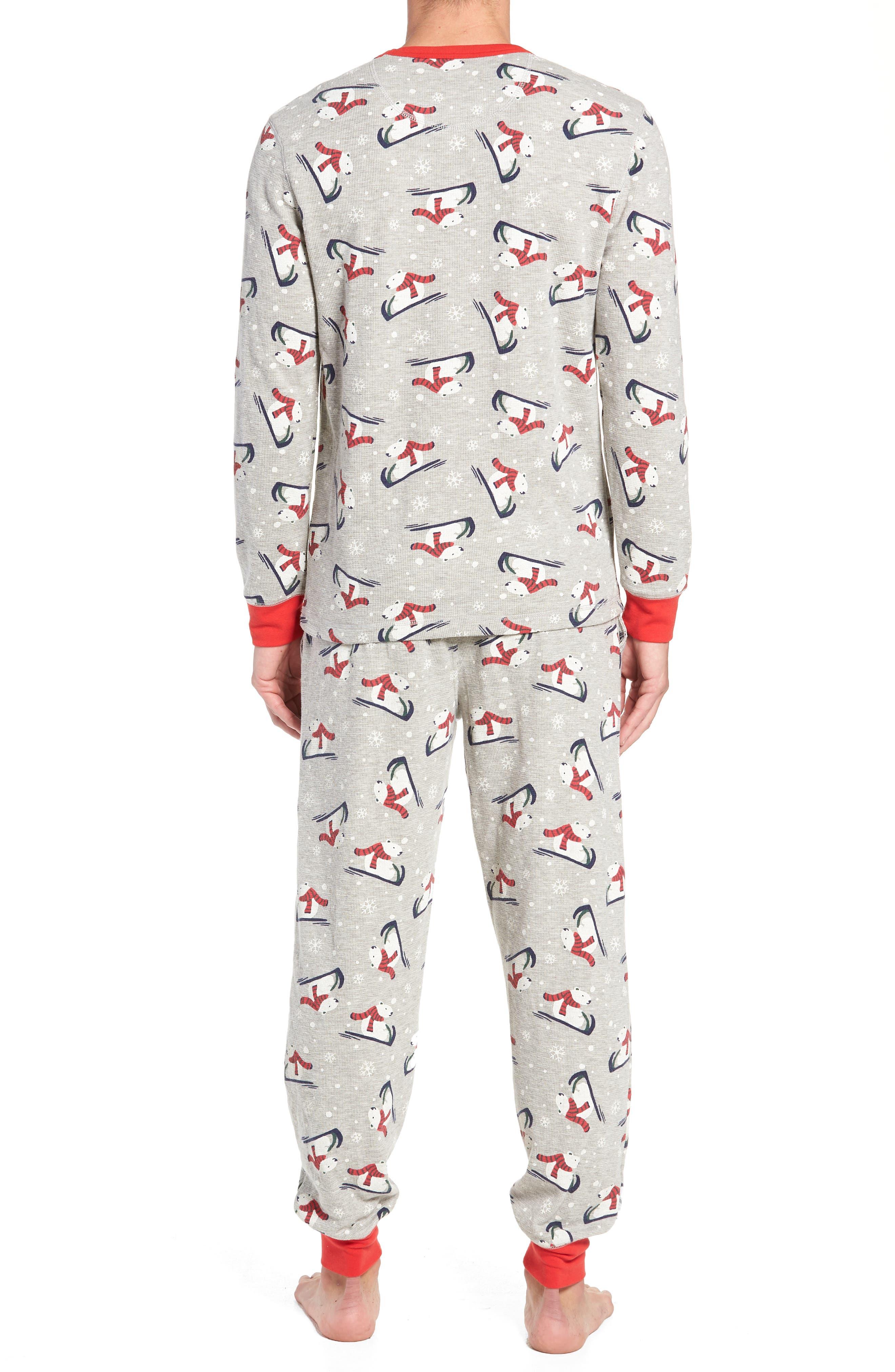 Family Father Thermal Pajamas,                             Alternate thumbnail 2, color,                             GREY PEARL HEATHER POLAR BEAR