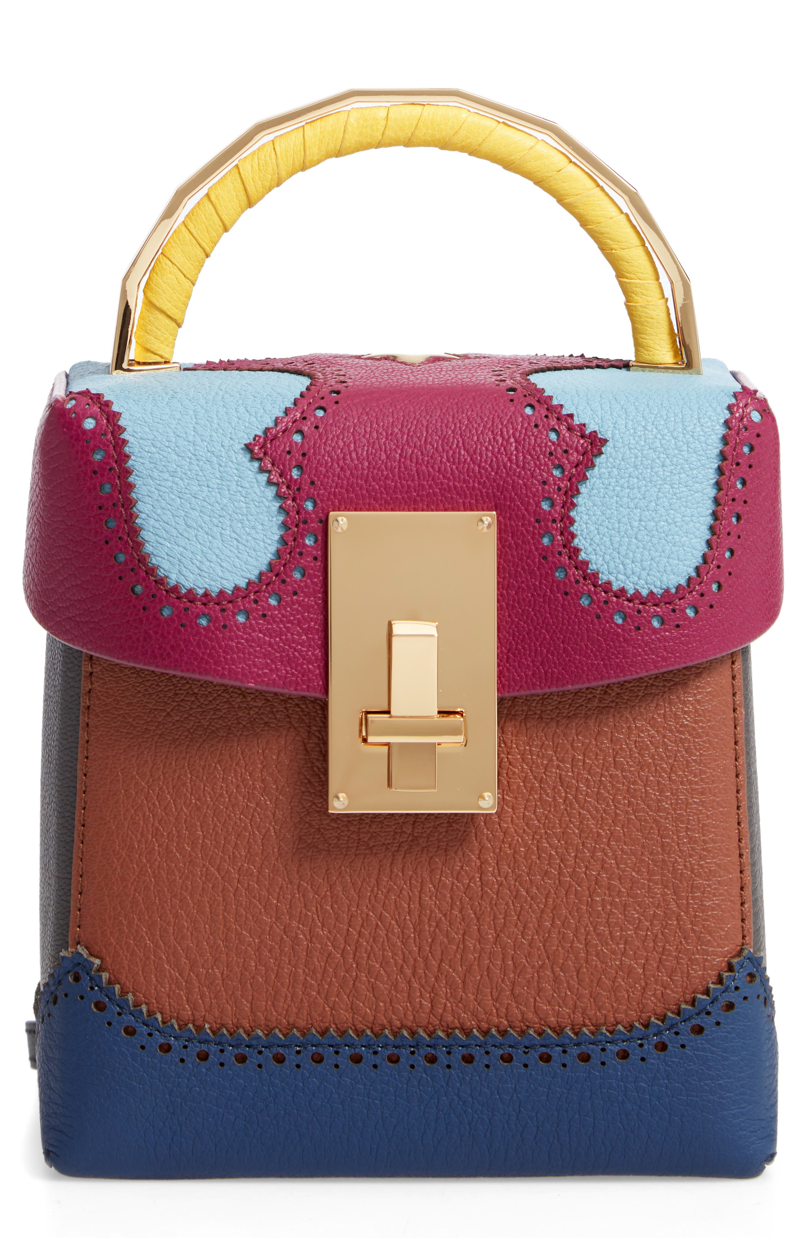Great Alice Leather Box Bag,                             Main thumbnail 1, color,                             VIOLET/ SKY