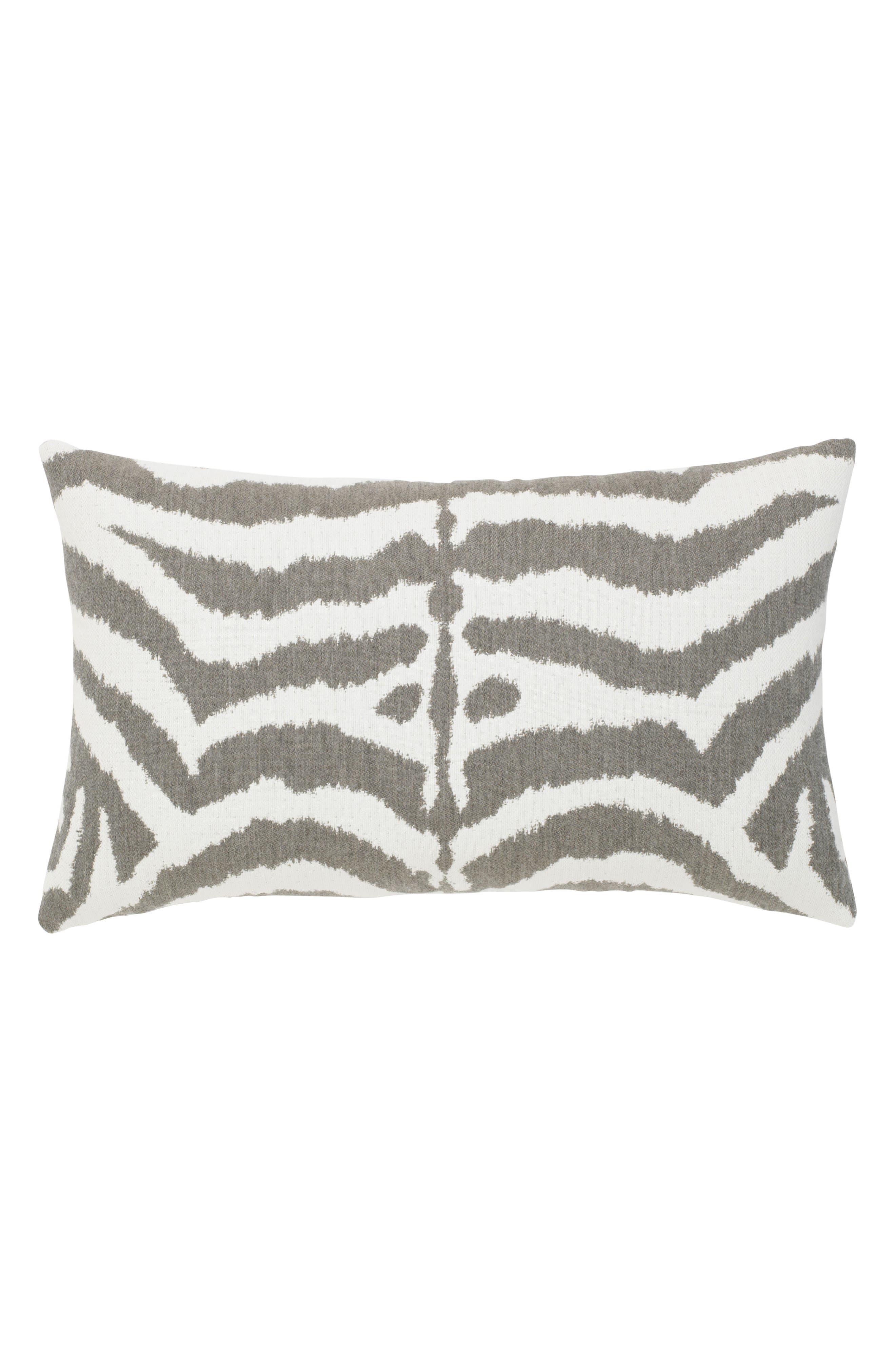 Zebra Gray Indoor/Outdoor Accent Pillow,                         Main,                         color, 100