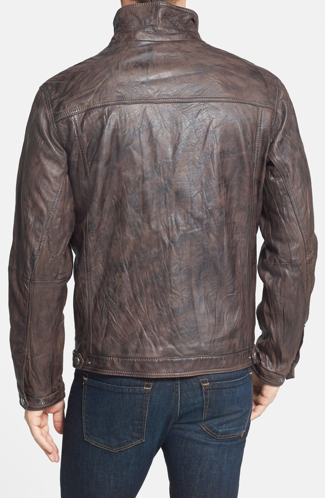 'Sunset Rider' Leather Jacket,                             Alternate thumbnail 3, color,                             201