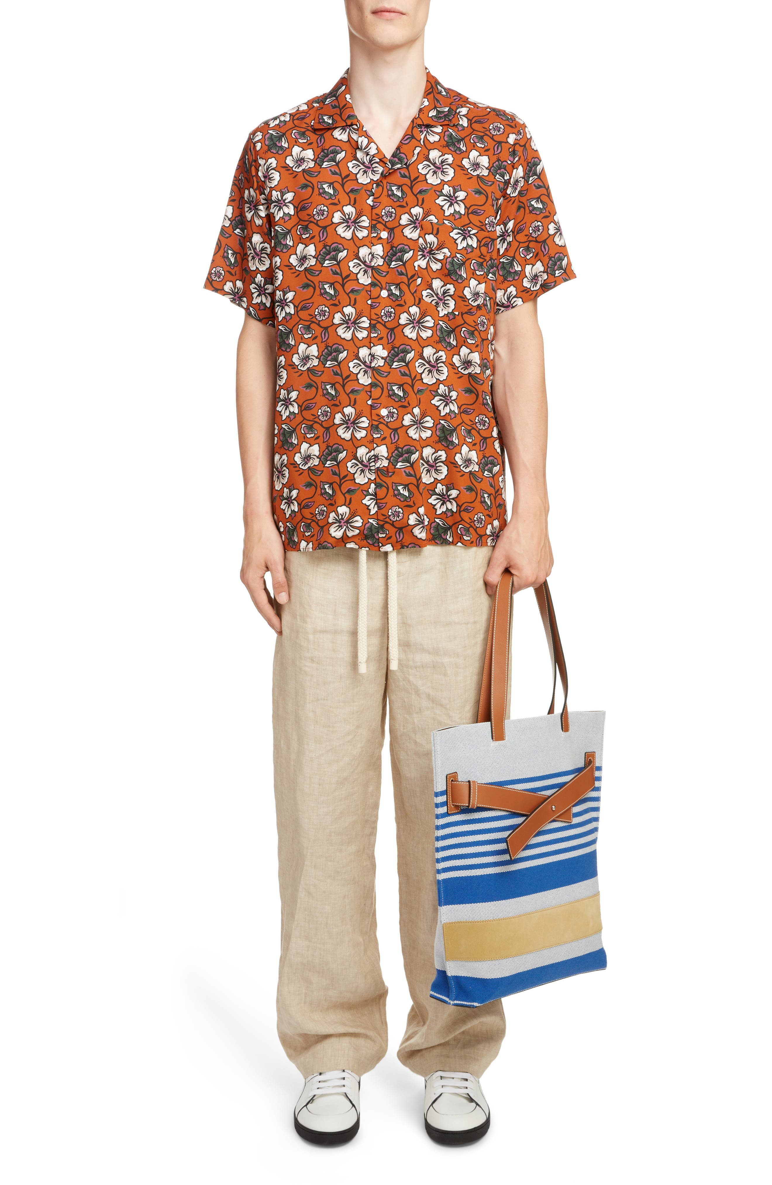 LOEWE,                             Floral Print Camp Shirt,                             Alternate thumbnail 6, color,                             2103-WHITE/ BROWN