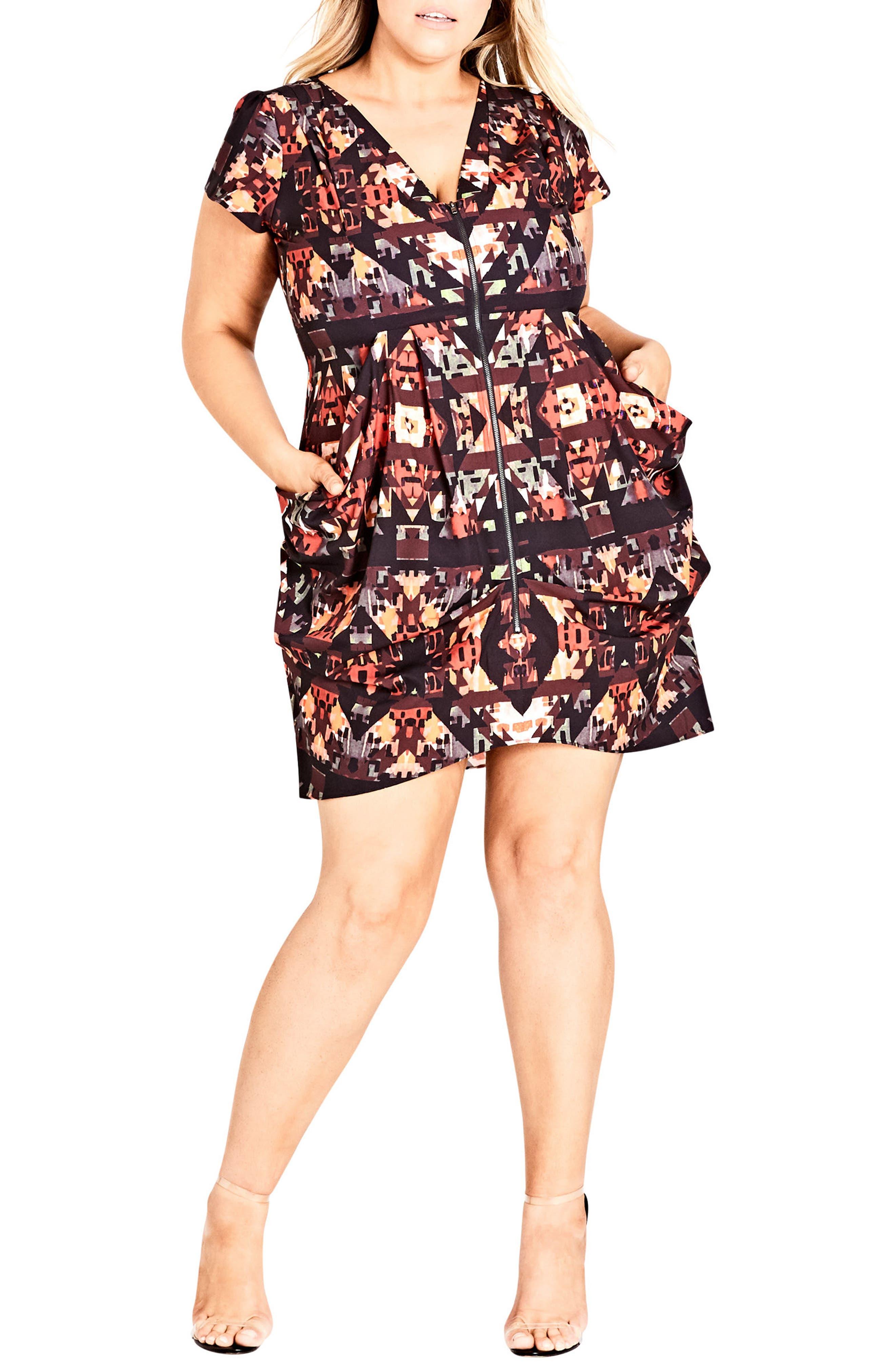 Geo Print Tunic Dress,                         Main,                         color, BLACK