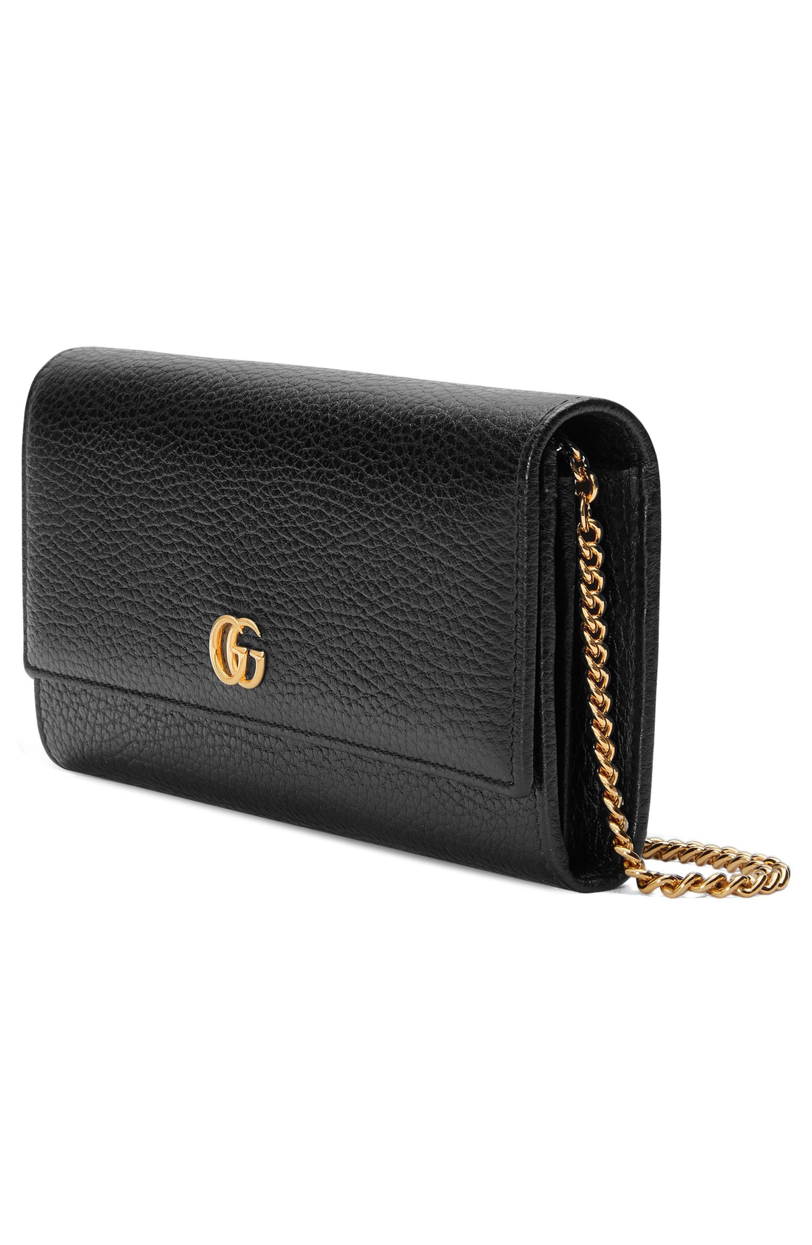 Petite Marmont Leather Continental Wallet on a Chain,                             Alternate thumbnail 4, color,                             NERO