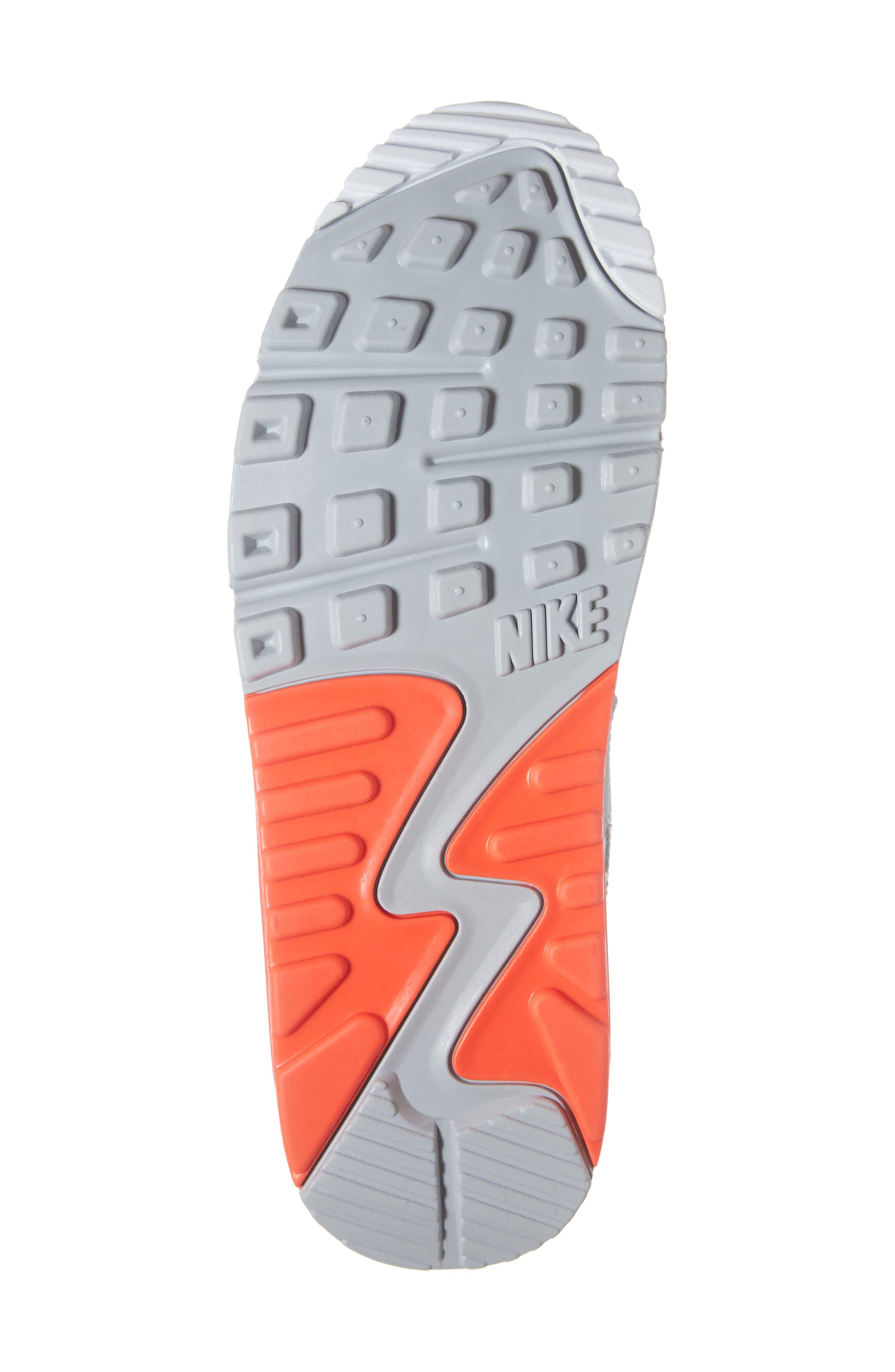 Air Max 90 Essential Sneaker,                             Alternate thumbnail 6, color,                             WOLF GREY/ CRIMSON/ BLACK