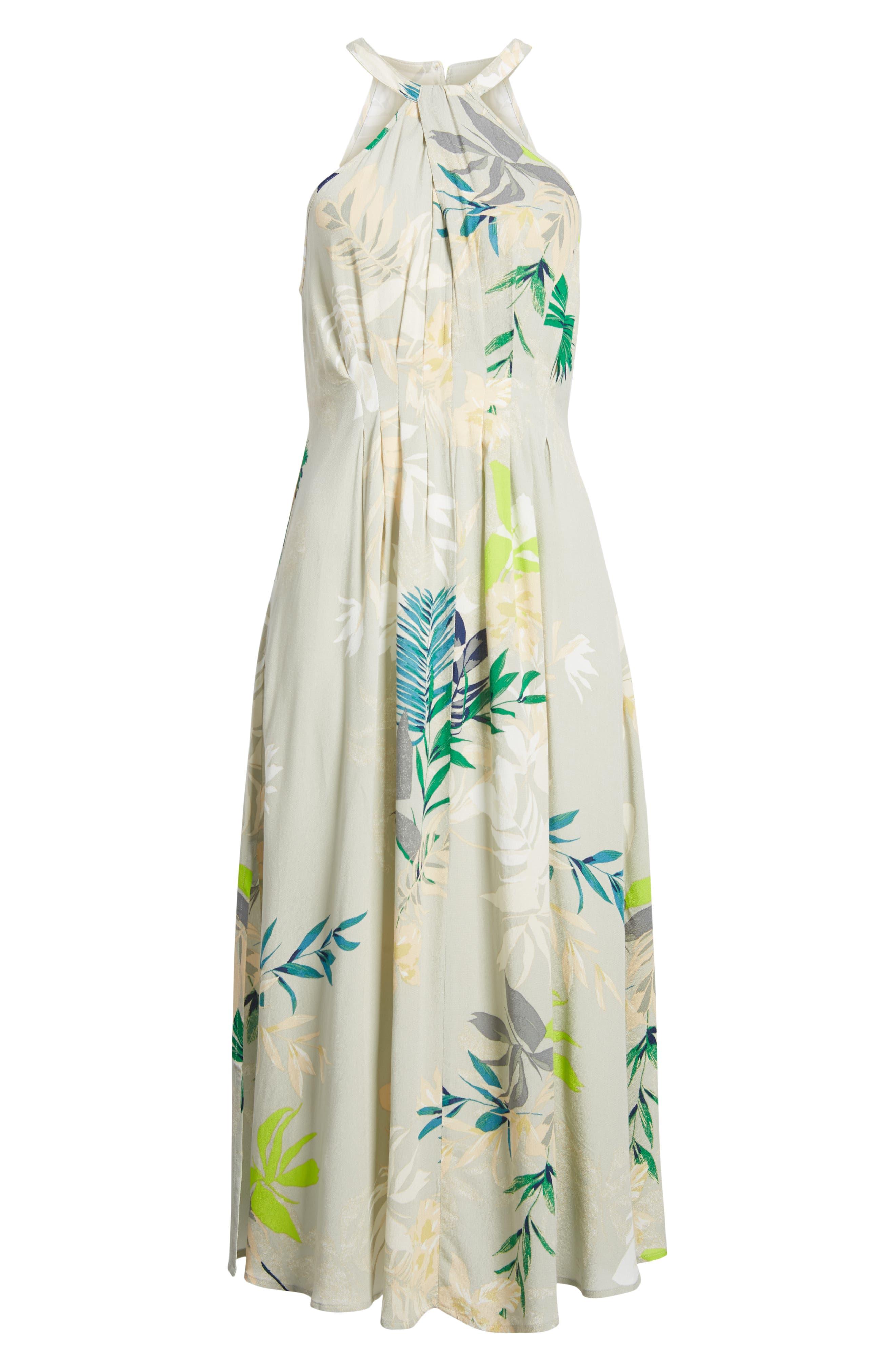 Byronne Floral Print Woven Midi Dress,                             Alternate thumbnail 4, color,                             MULTI COLORED