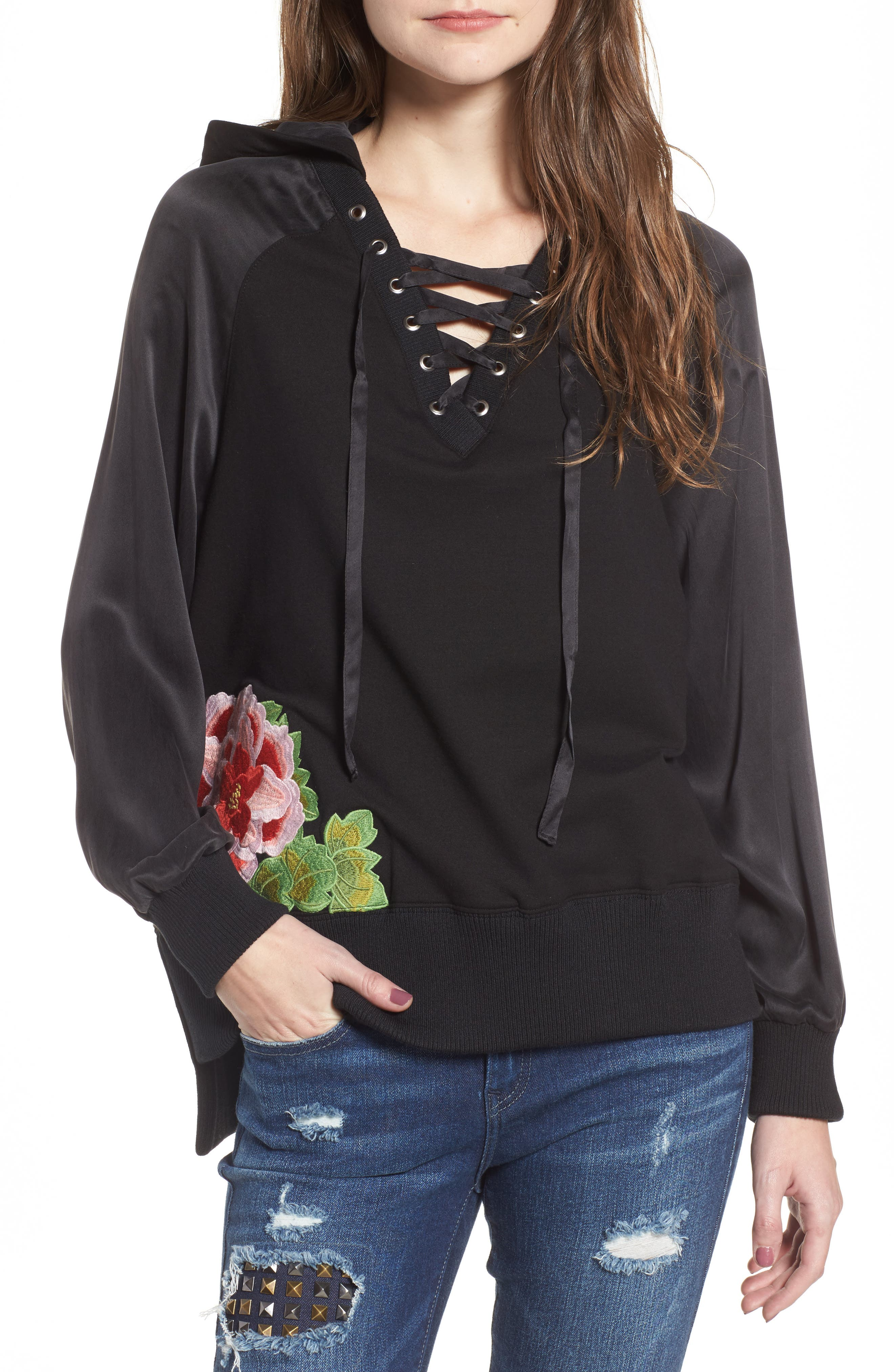 True Religion Lace-Up Pullover,                             Main thumbnail 1, color,                             001
