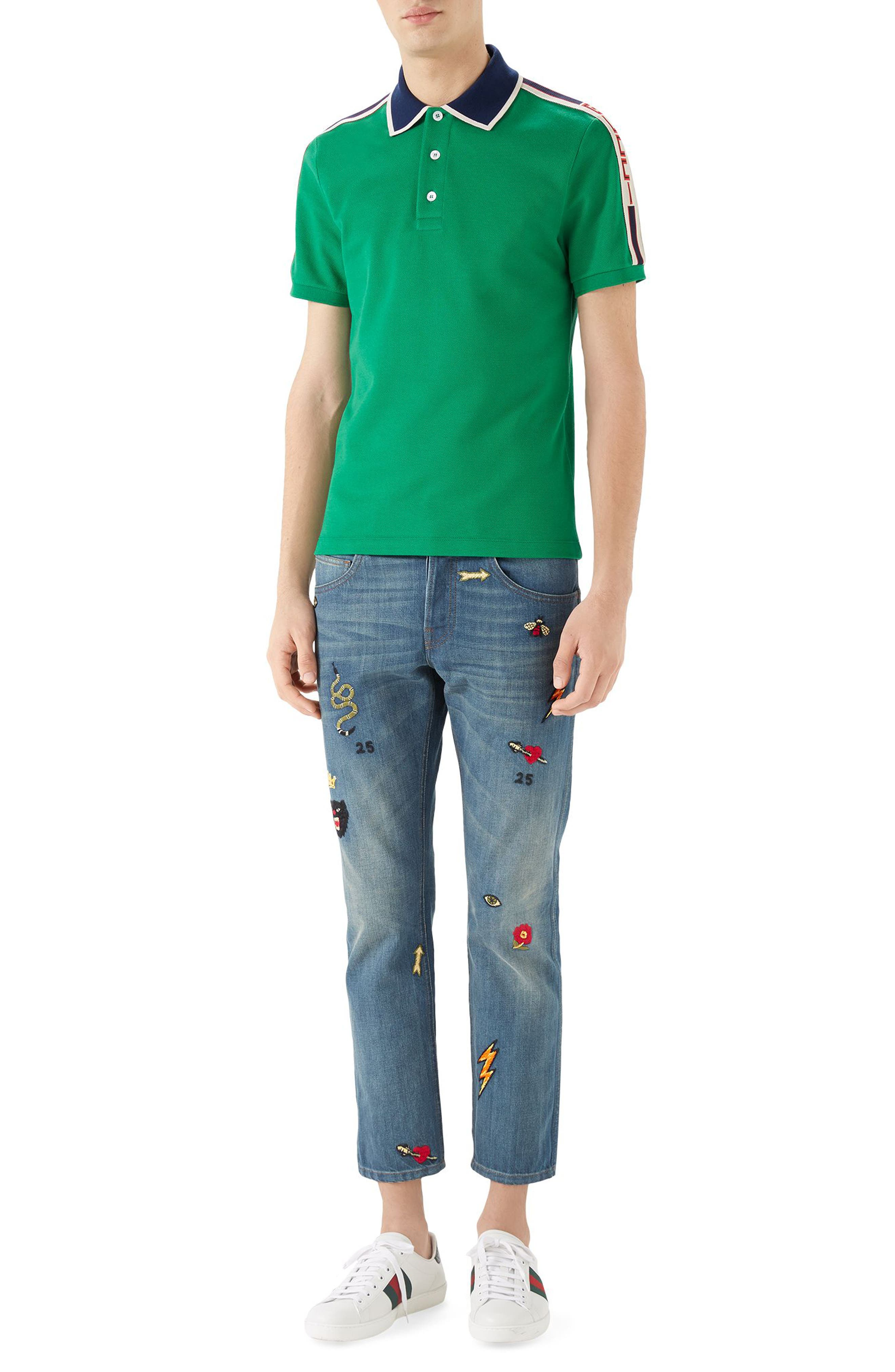 Embroidered Slim Fit Jeans,                             Alternate thumbnail 3, color,                             BLUE