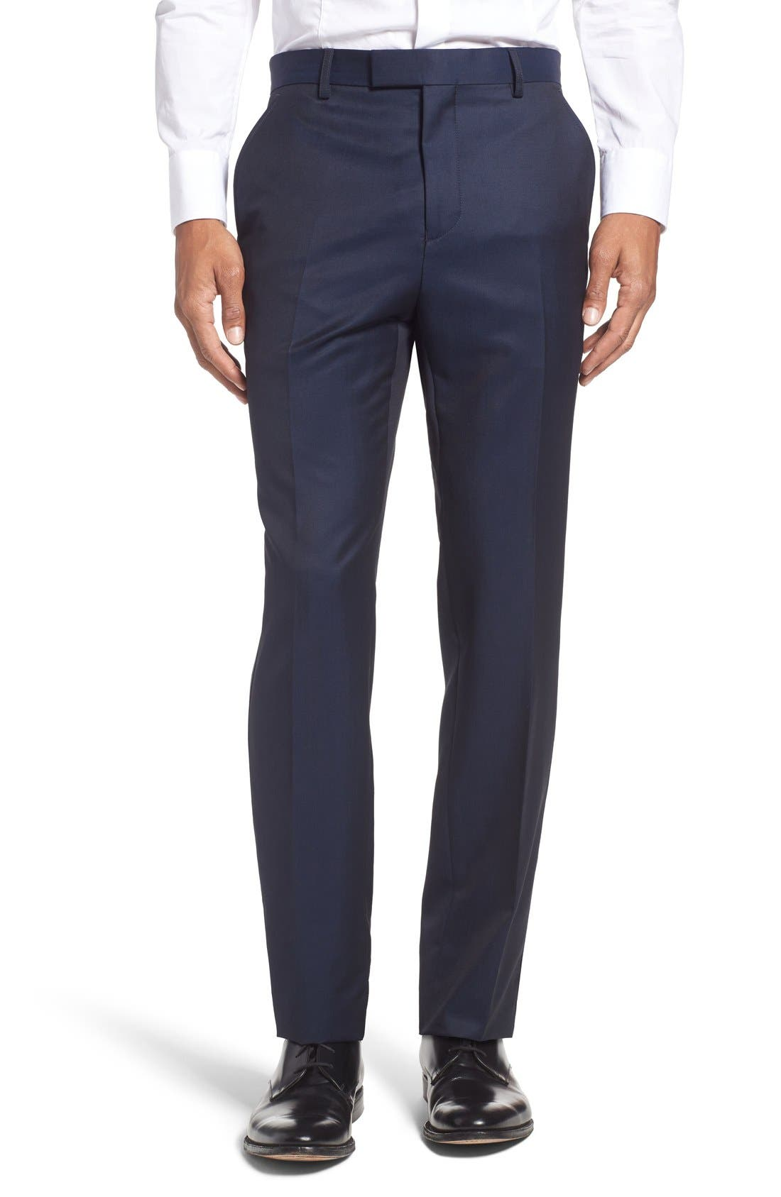 'Pashion' Flat Front Wool & Mohair Trousers,                             Main thumbnail 1, color,                             410