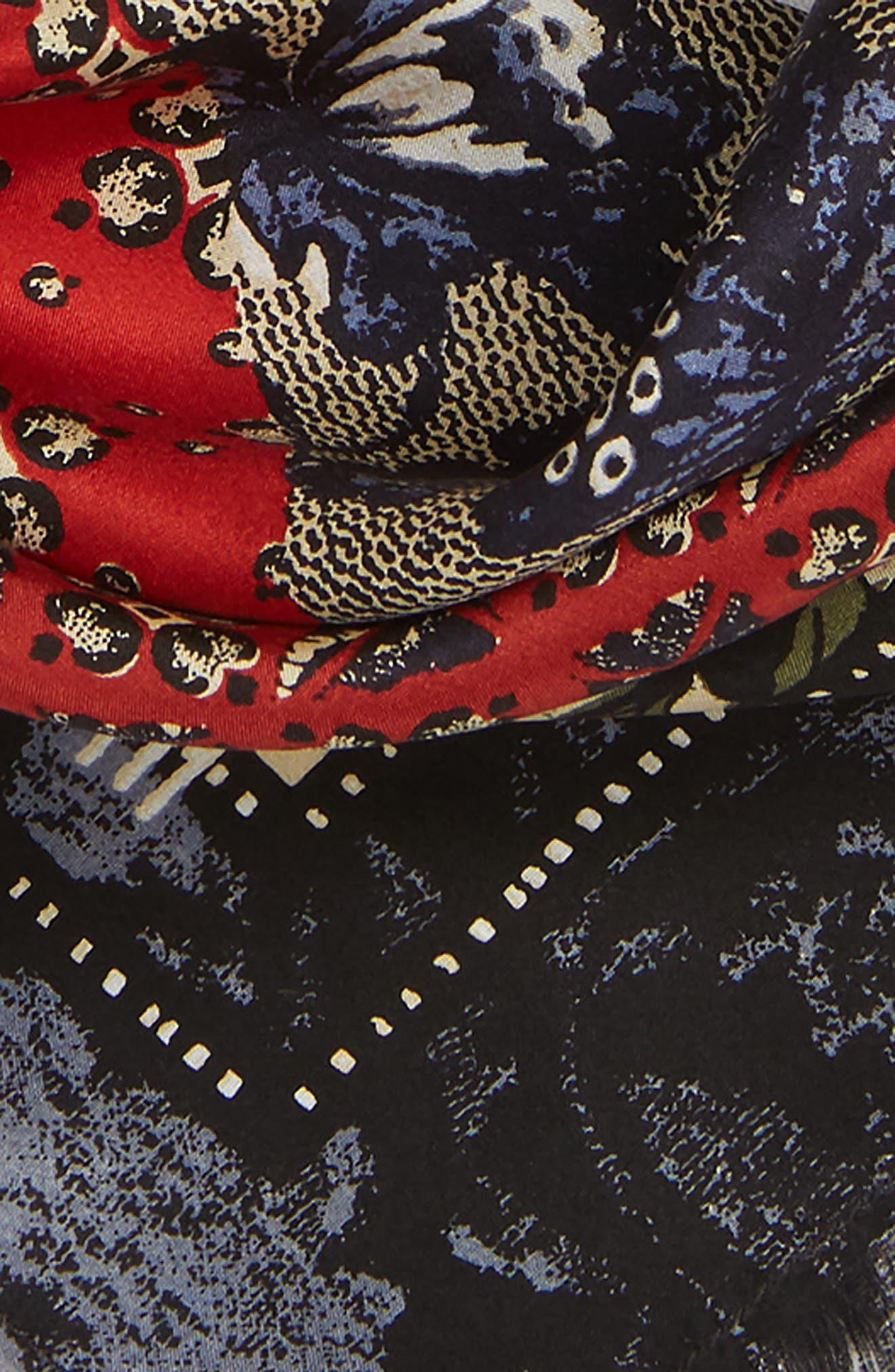 Print Square Silk Scarf,                             Alternate thumbnail 4, color,                             BLUE EVOLUTION BANDANA