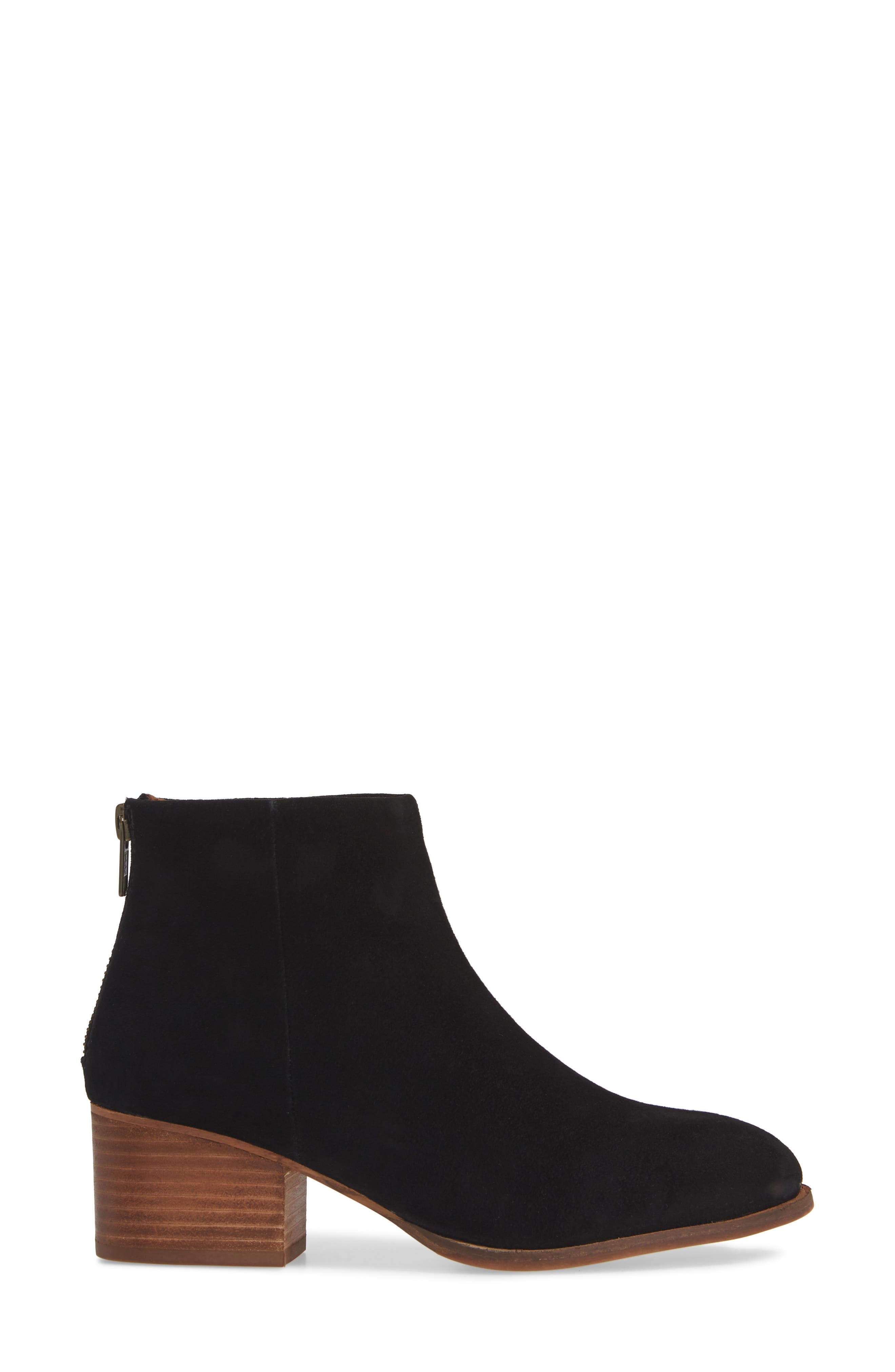 Floodplain Block Heel Bootie,                             Alternate thumbnail 3, color,                             BLACK SUEDE