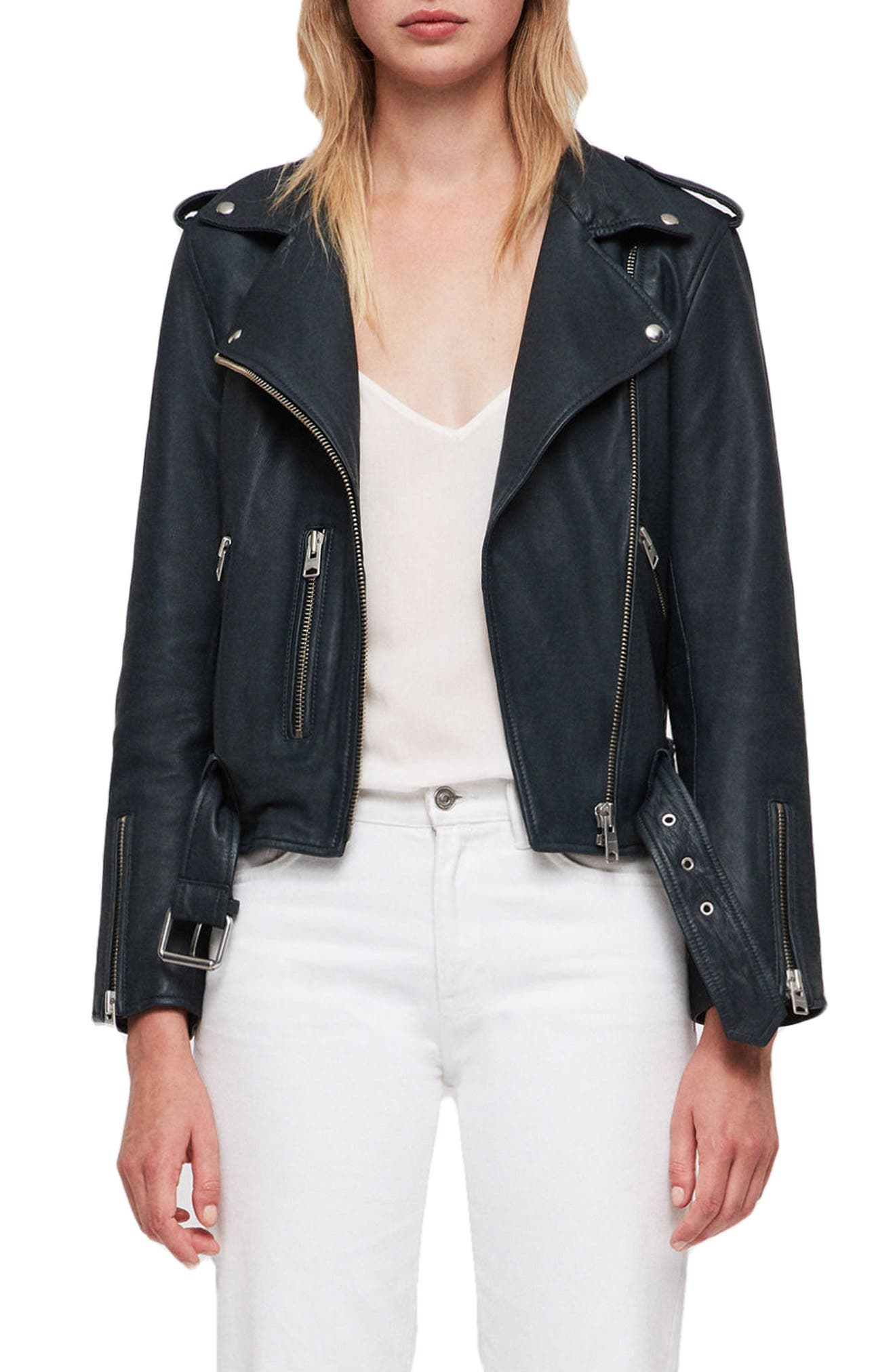 Balfern Leather Biker Jacket,                             Main thumbnail 1, color,                             404