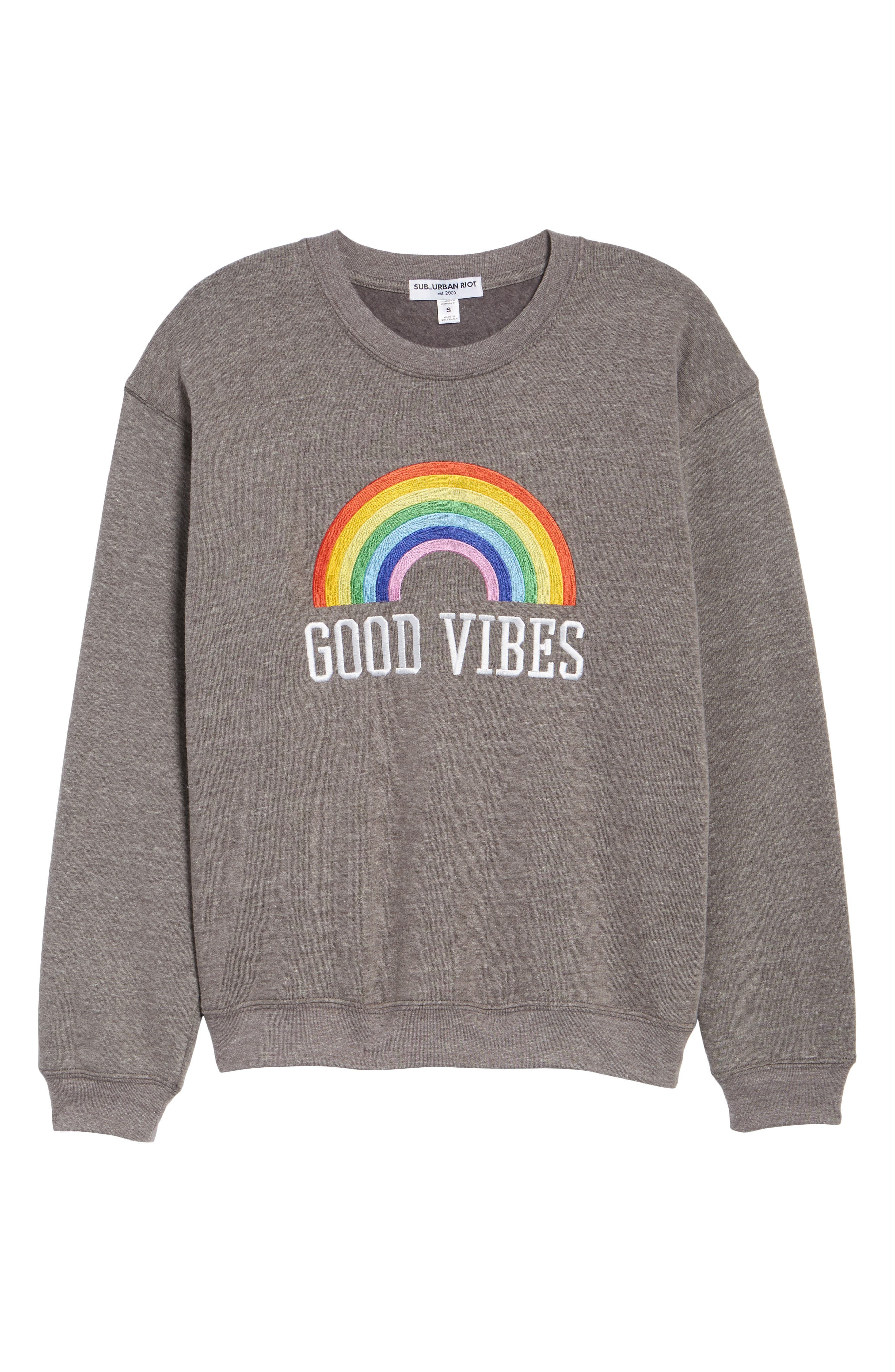 Good Vibes Rainbow Sweatshirt,                             Alternate thumbnail 7, color,                             HEATHER GREY