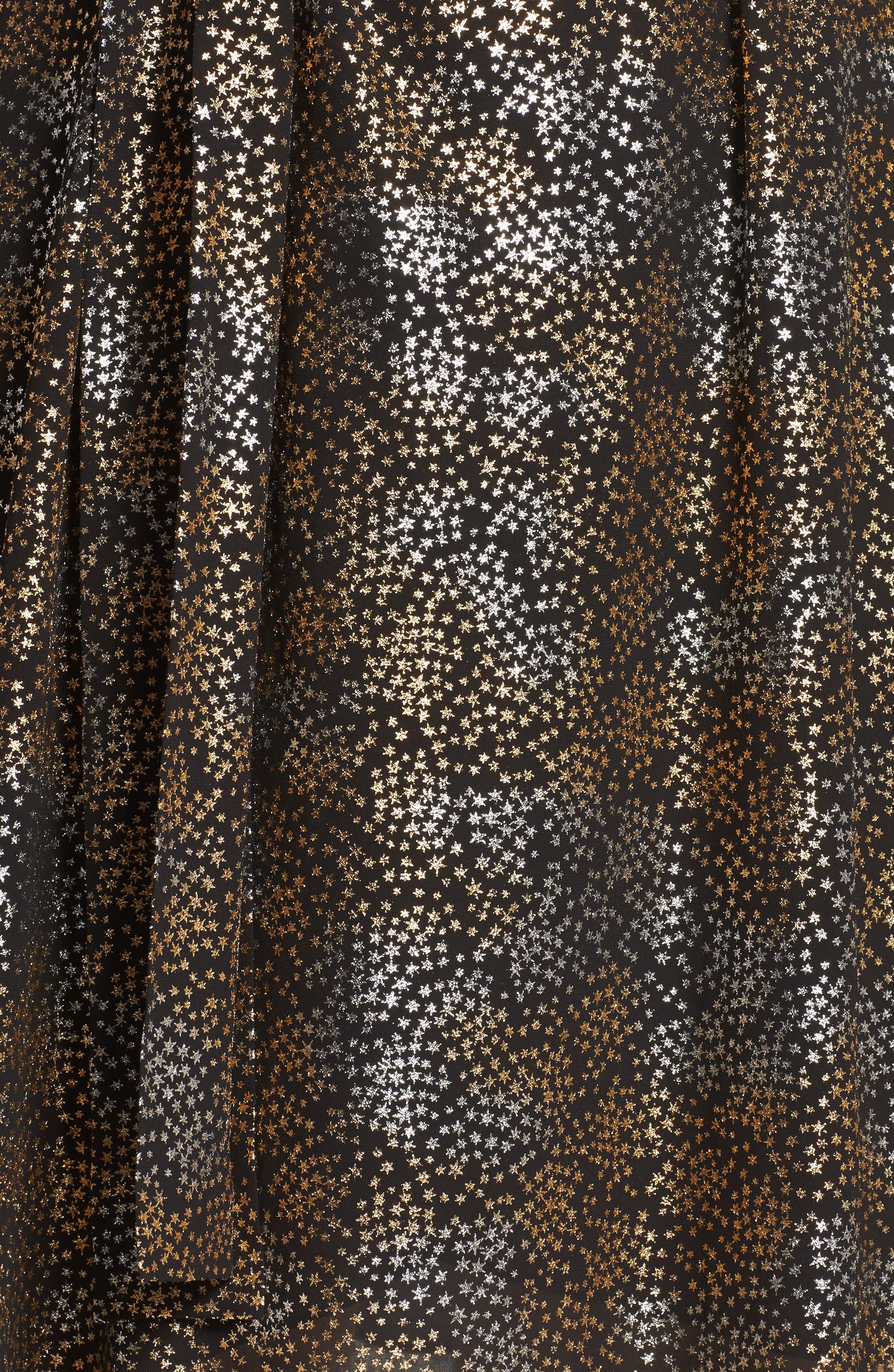 Cold Shoulder Metallic Star A-Line Dress,                             Alternate thumbnail 5, color,                             047