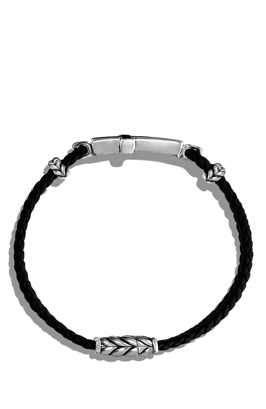 'Exotic Stone' Cross Station Leather Bracelet with Black Onyx,                             Alternate thumbnail 4, color,                             SILVER/ BLACK ONYX