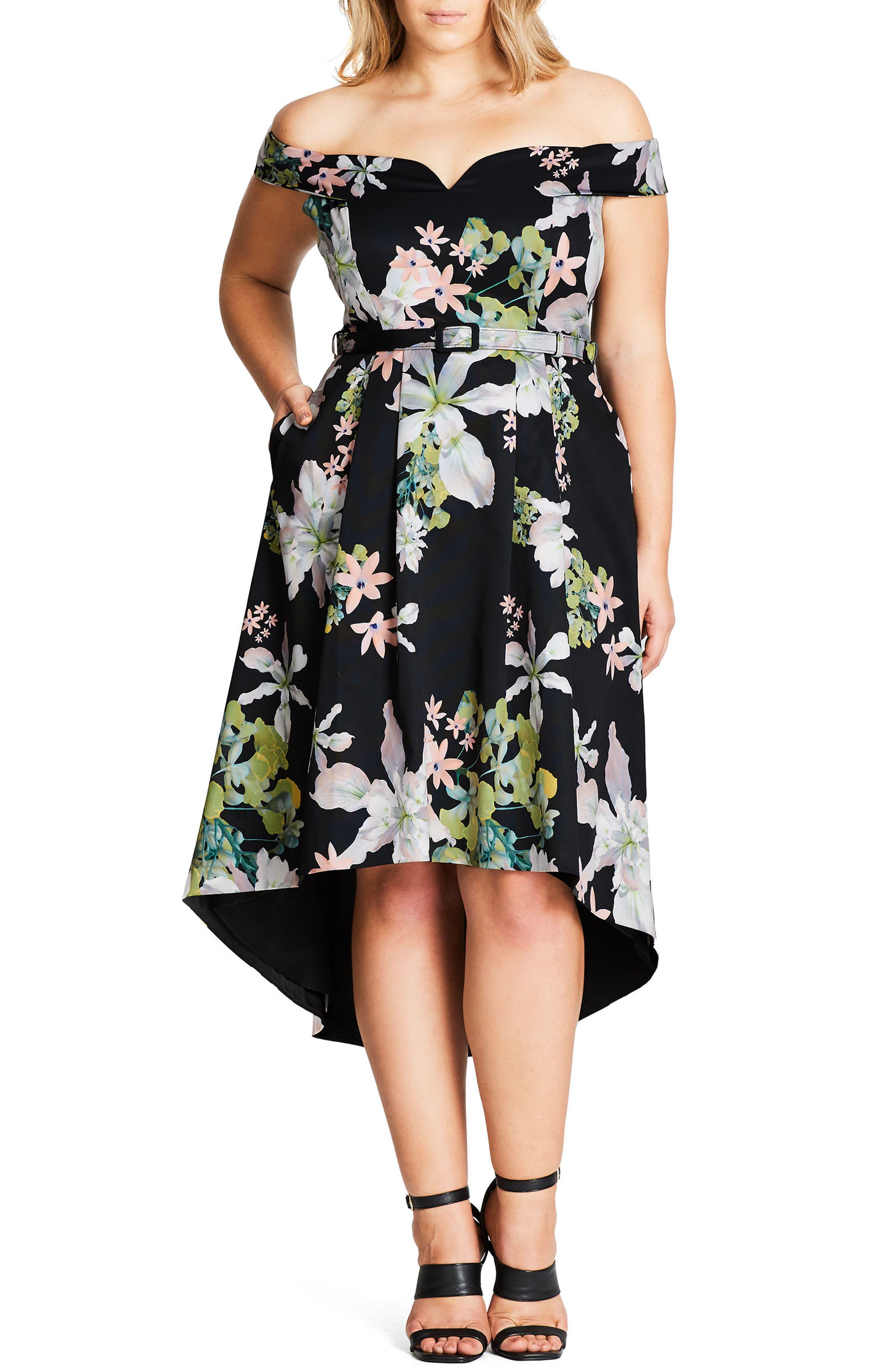 Spring Belted Off the Shoulder Dress,                             Main thumbnail 1, color,                             001