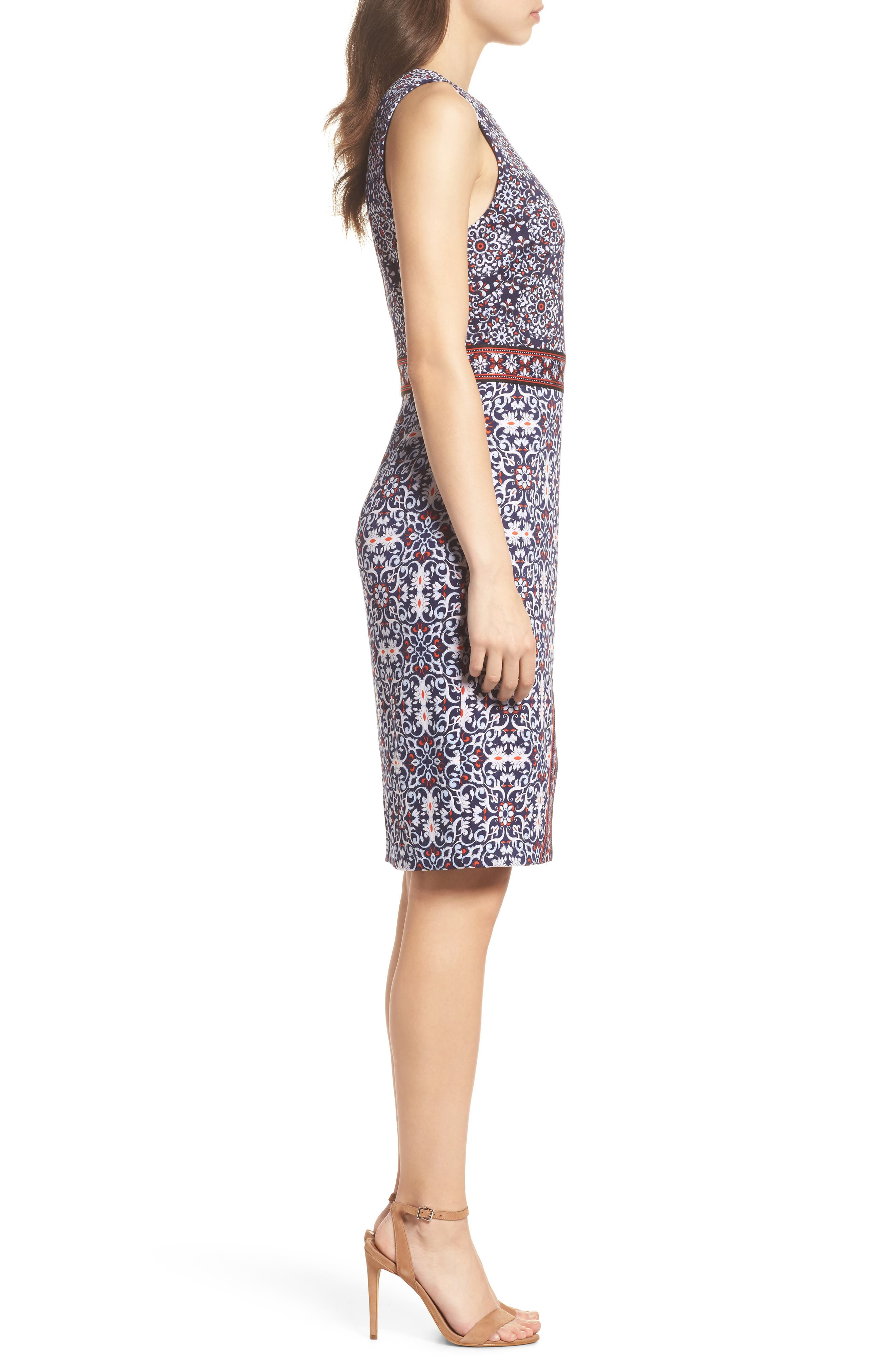 Printed Scissor Front Sleeveless Dress,                             Alternate thumbnail 3, color,                             490