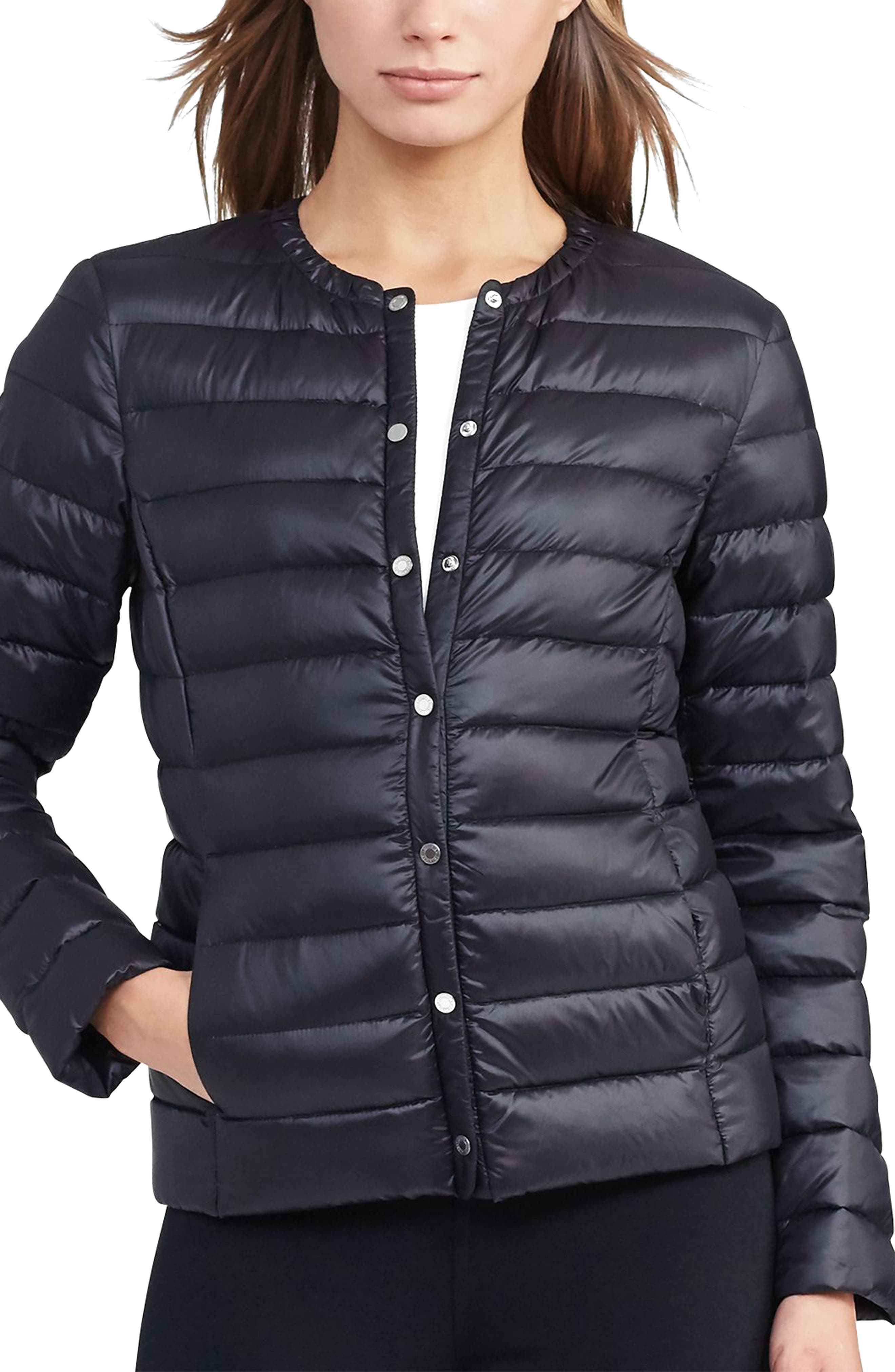 Packable Quilted Collarless Down Jacket,                             Main thumbnail 2, color,