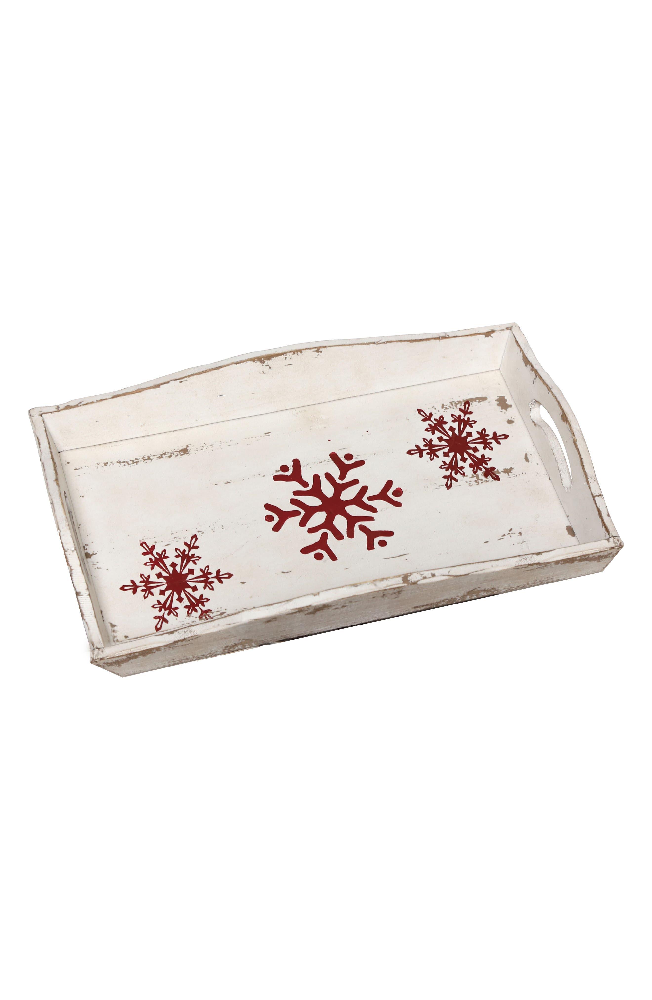 Snowflake Wood Tray,                             Main thumbnail 1, color,                             600