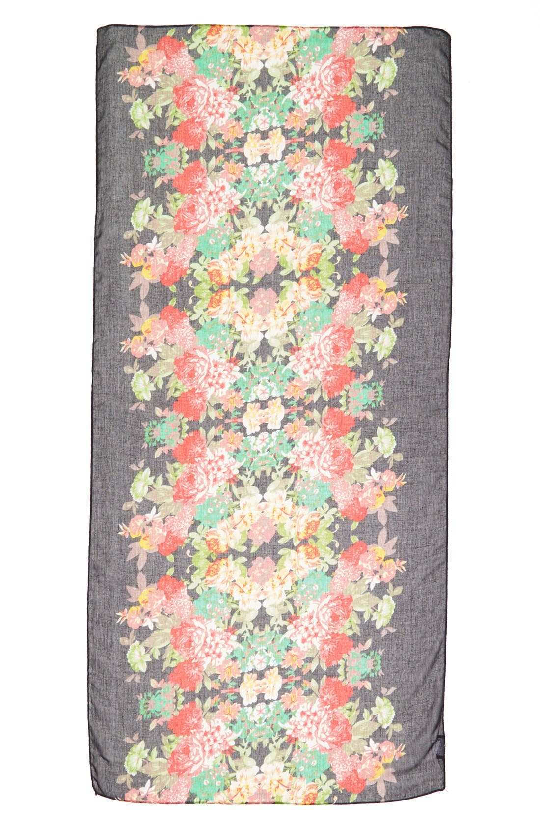 Floral Print Woven Scarf,                             Alternate thumbnail 2, color,                             001