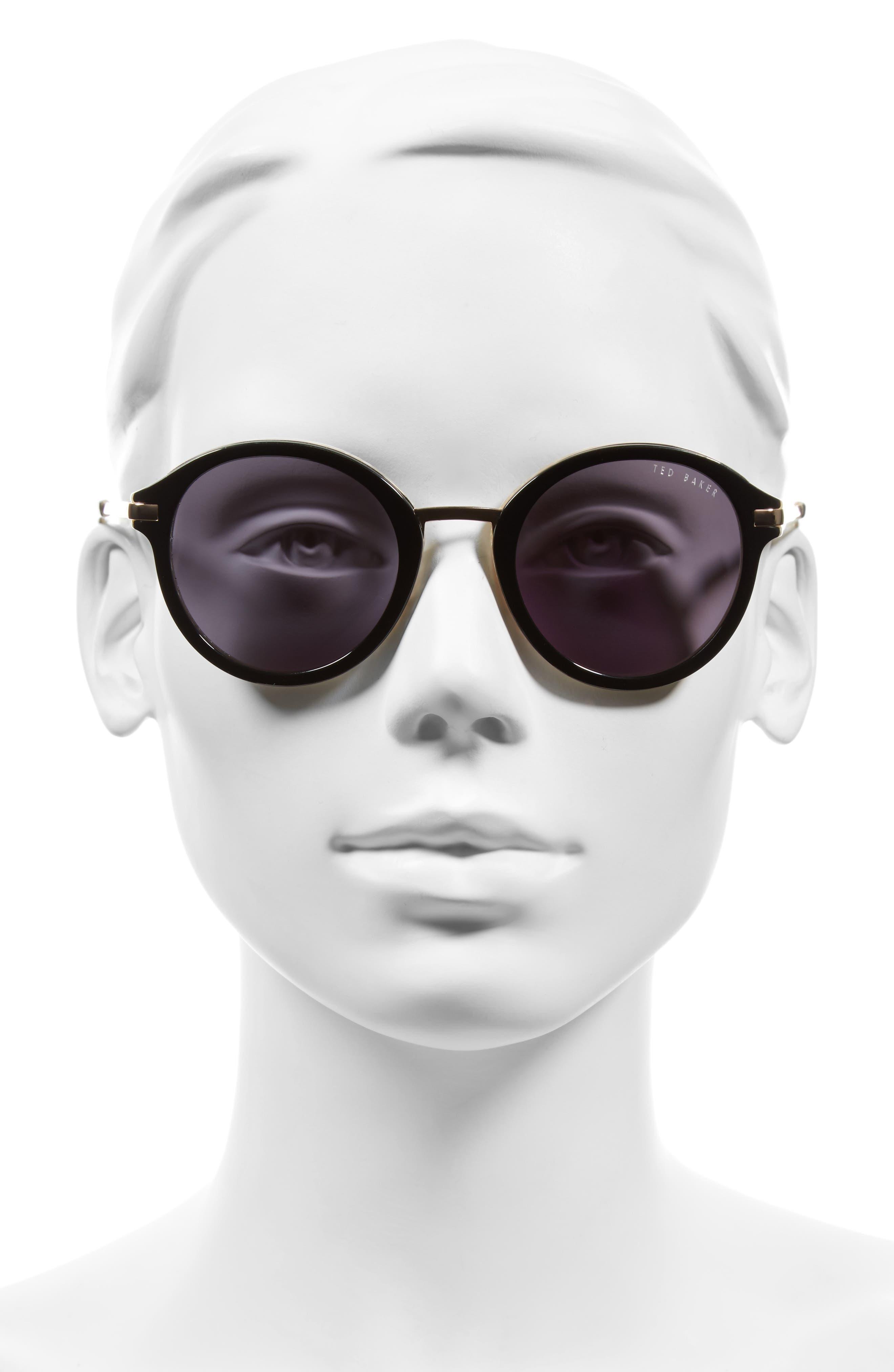 49mm Round Sunglasses,                             Alternate thumbnail 4, color,