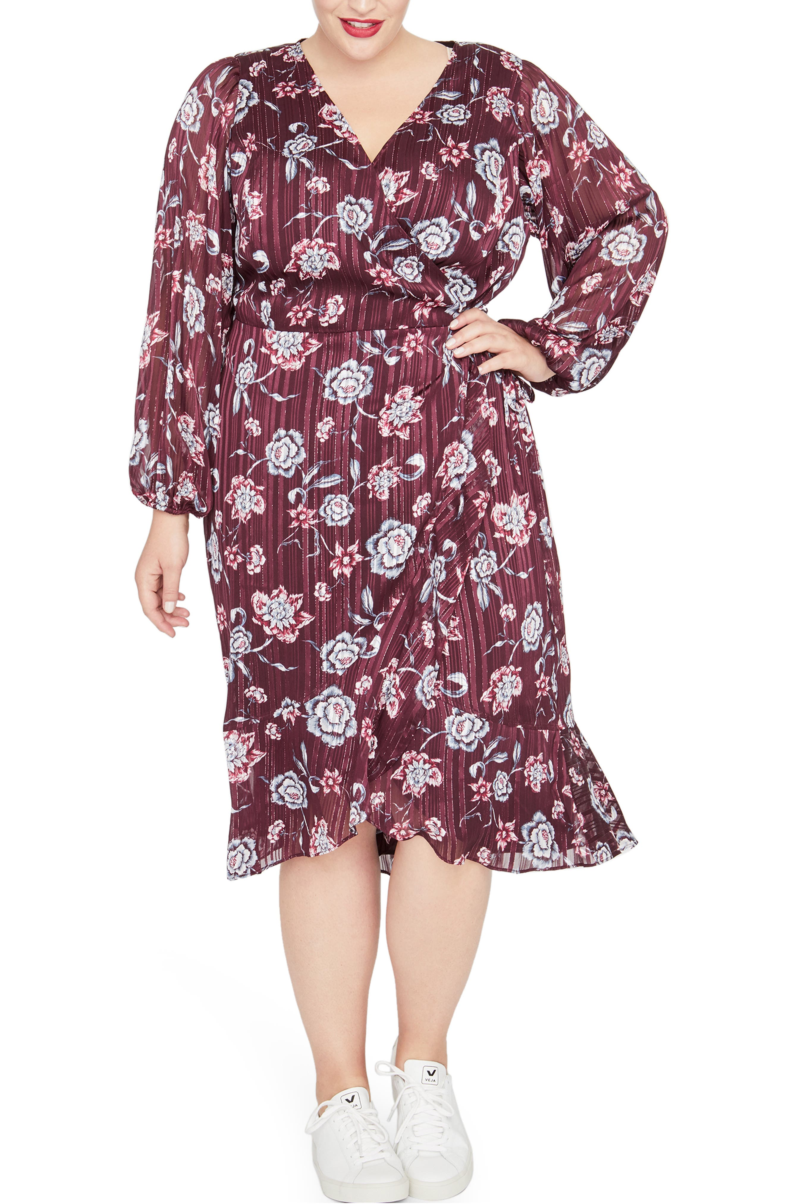 Gisela Floral Metalllic Detail Dress,                         Main,                         color, ROYAL ORCHID COMBO