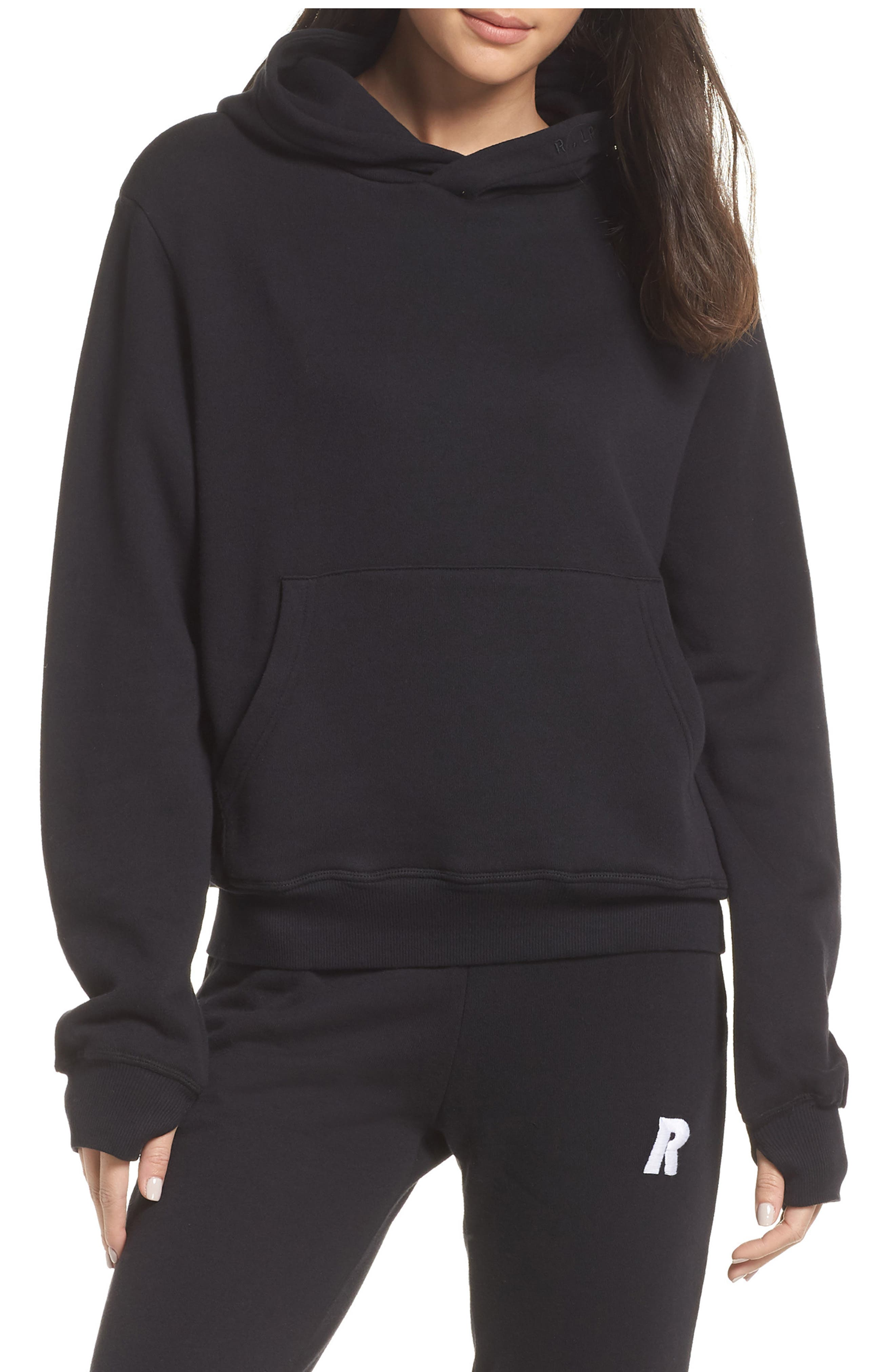Hoodie Sweatshirt,                         Main,                         color, BLACK